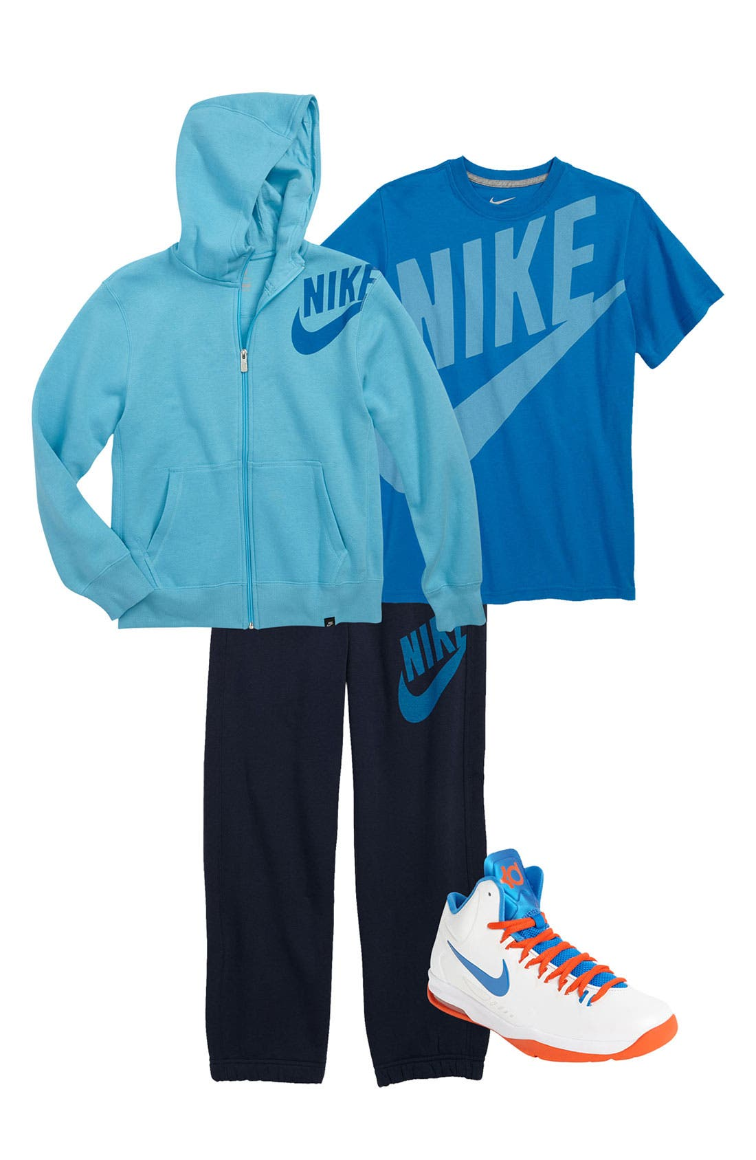 Main Image - Nike T-Shirt, Pants, Hoodie & Basketball Sneaker (Big Boys)