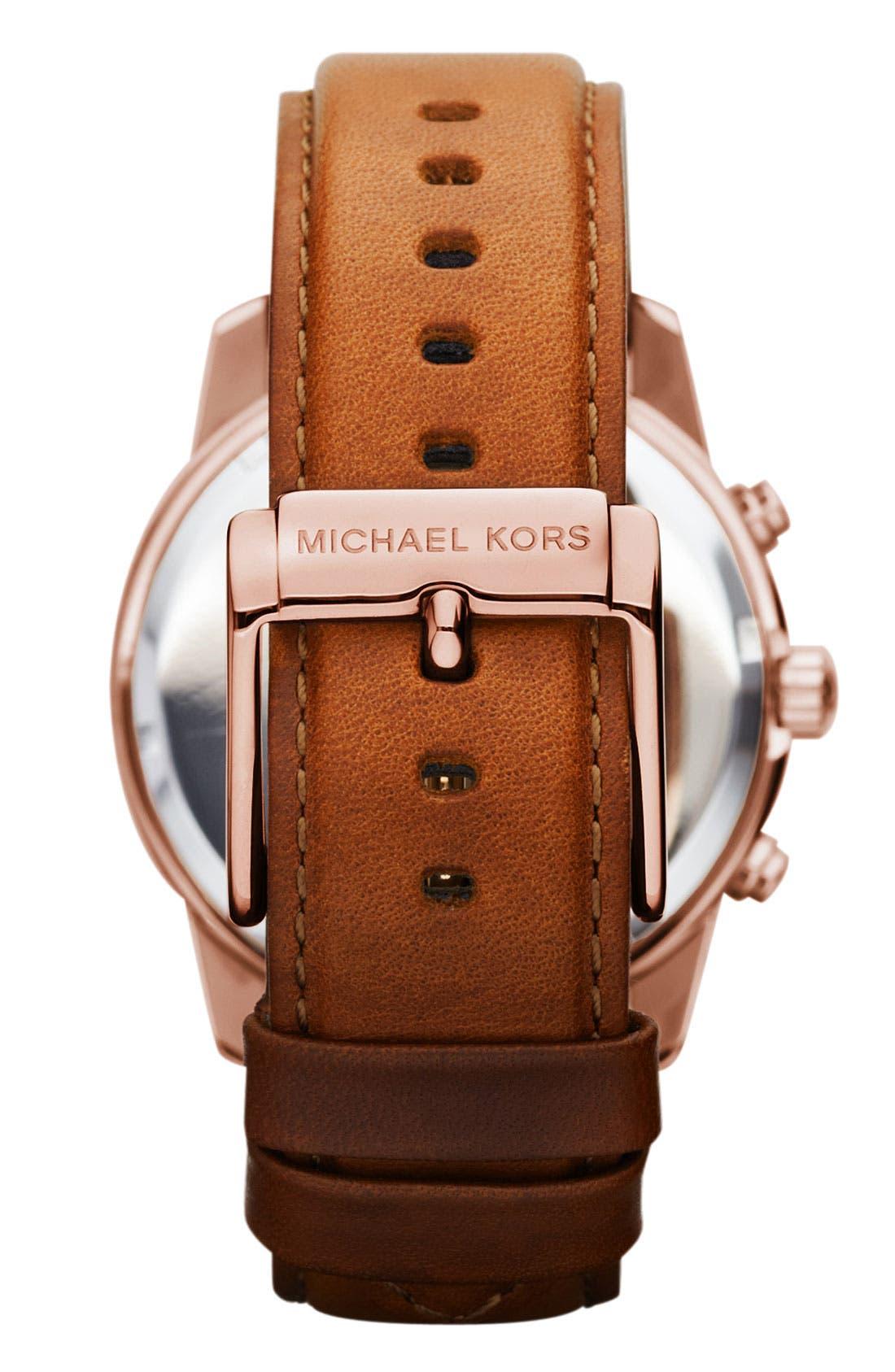Alternate Image 3  - Michael Kors Chronograph Leather Strap Watch, 41mm