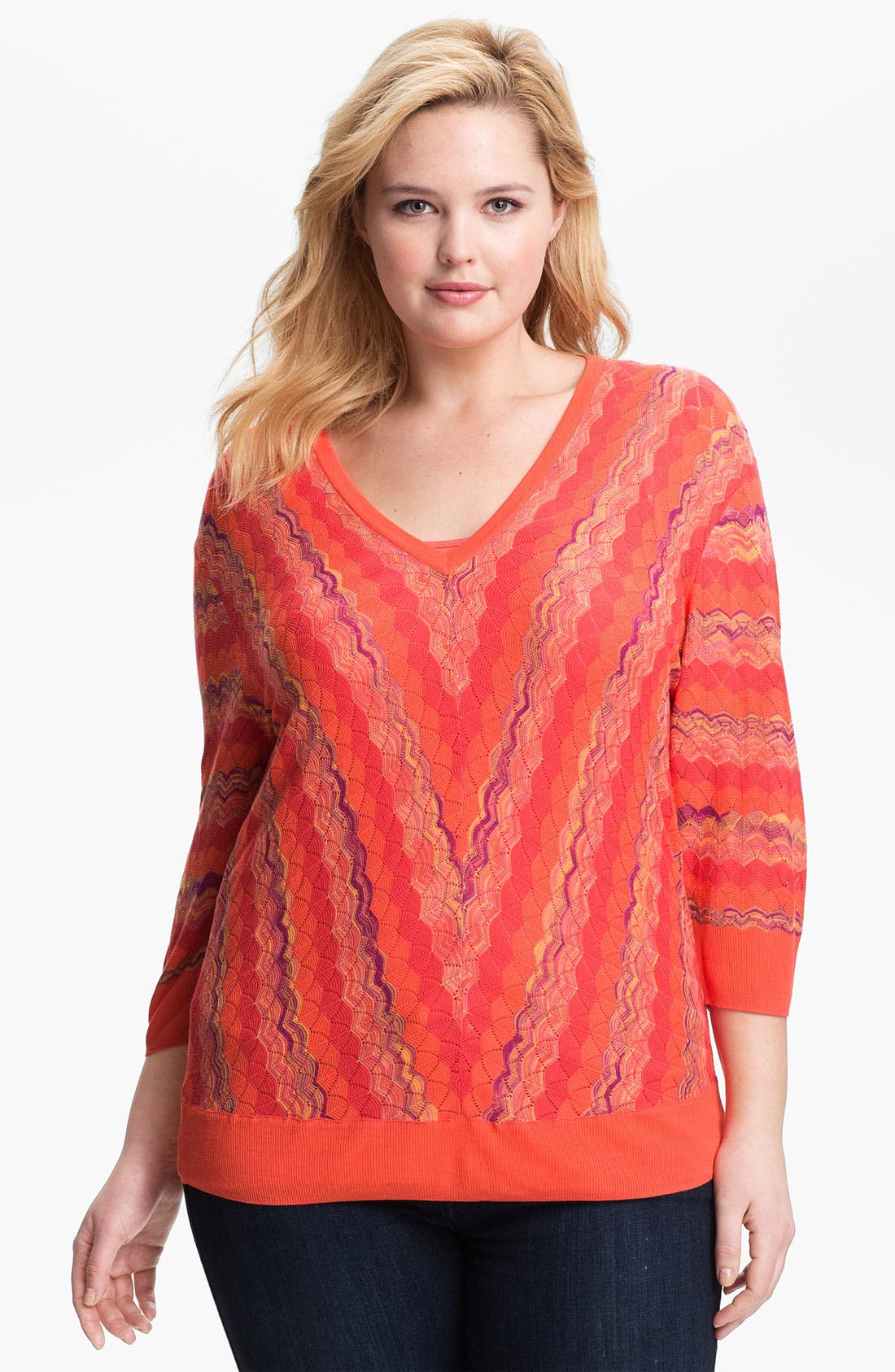 Alternate Image 1 Selected - Sejour Zigzag Stripe Sweater (Plus Size)