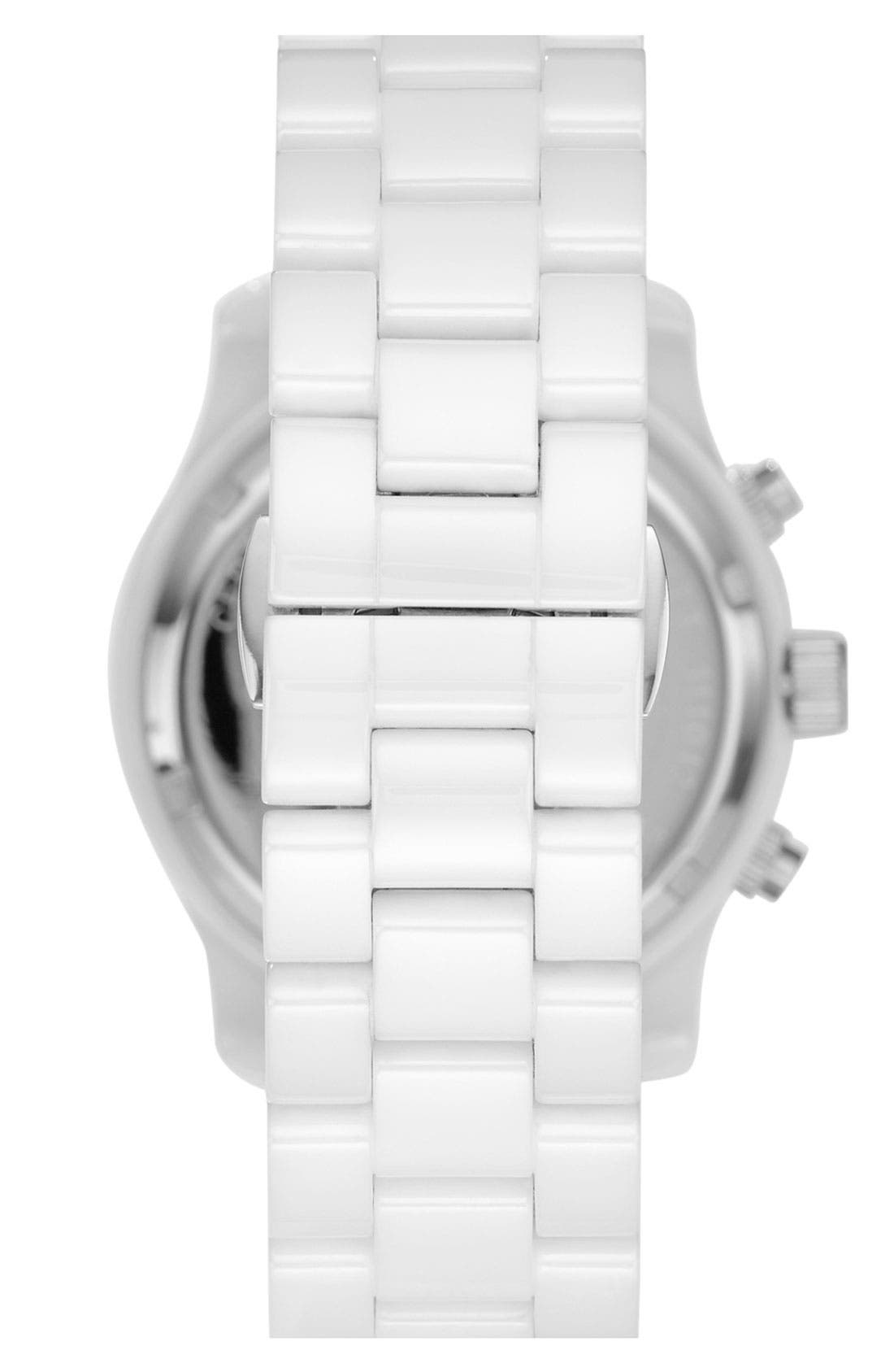 Michael Kors 'Runway Ceramic' Watch, 40mm,                             Alternate thumbnail 3, color,                             White
