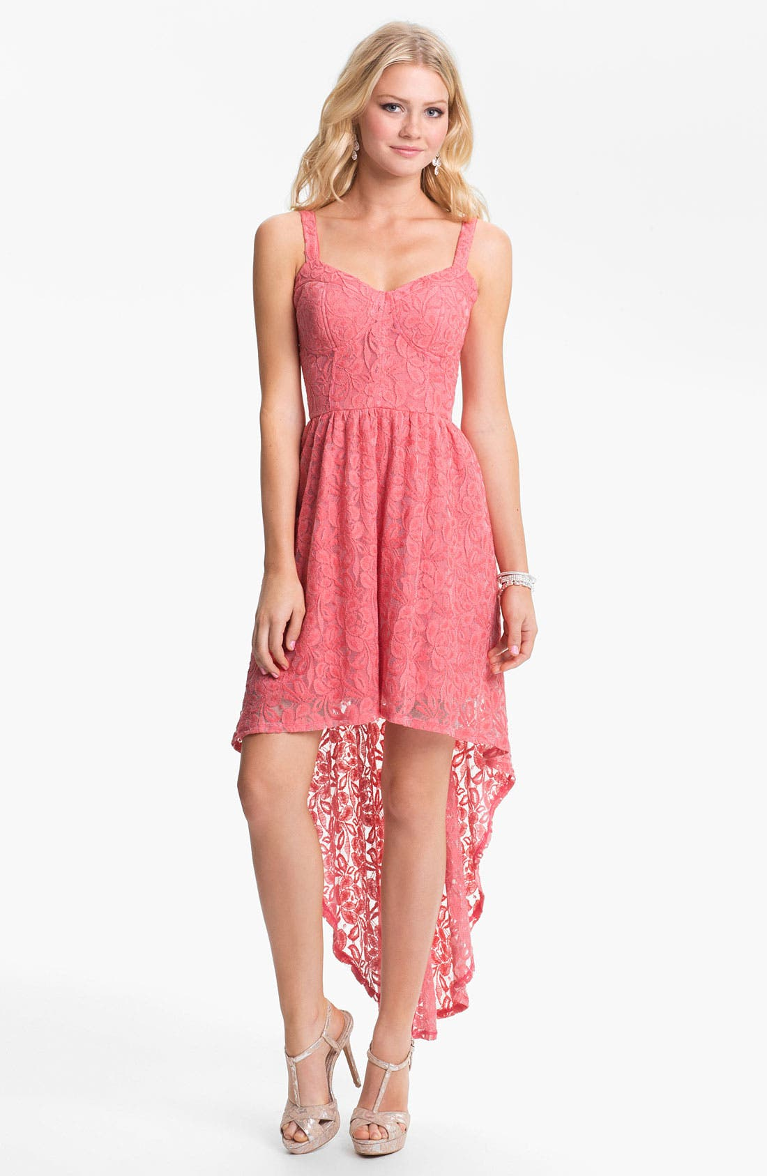 Main Image - Fire High/Low Lace Bustier Dress (Juniors)
