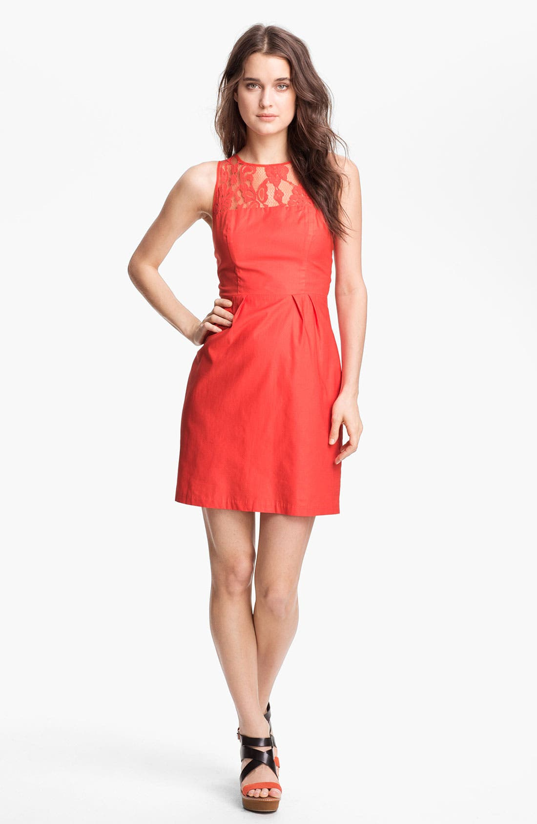 Main Image - BB Dakota 'Mandy' Lace Yoke Cotton Sheath Dress