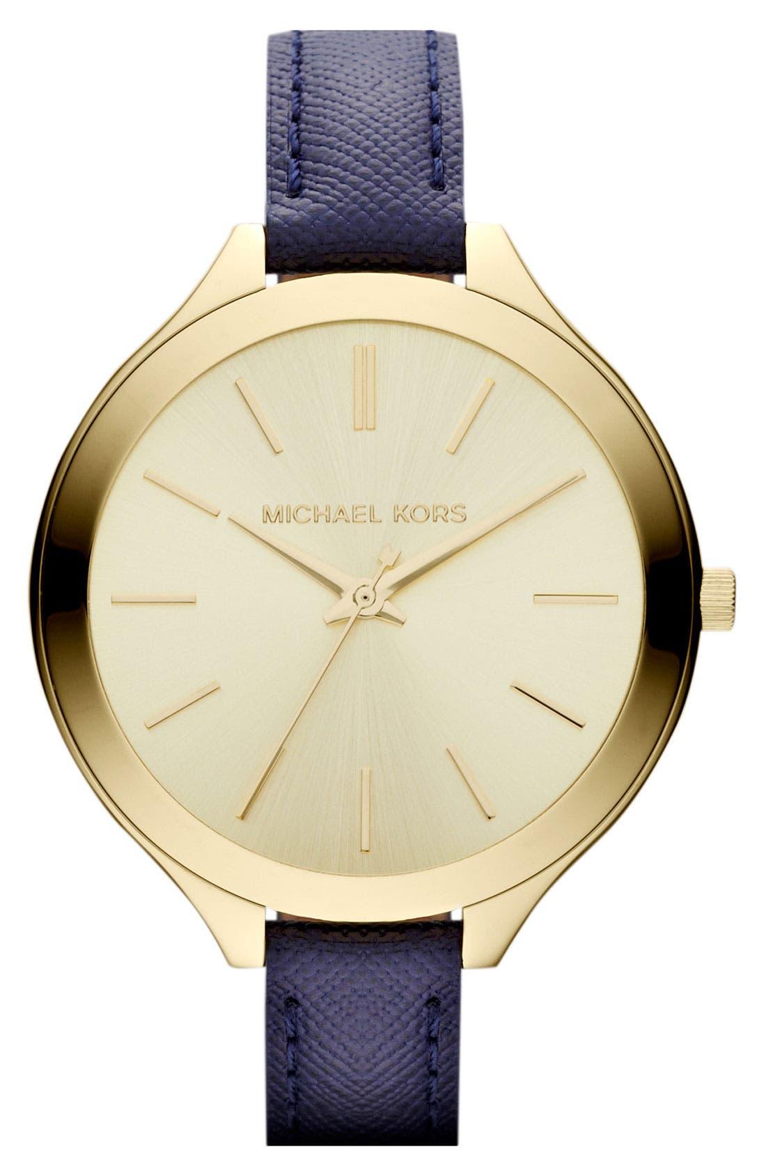 Alternate Image 1 Selected - Michael Kors 'Slim Runway' Leather Strap Watch, 42mm