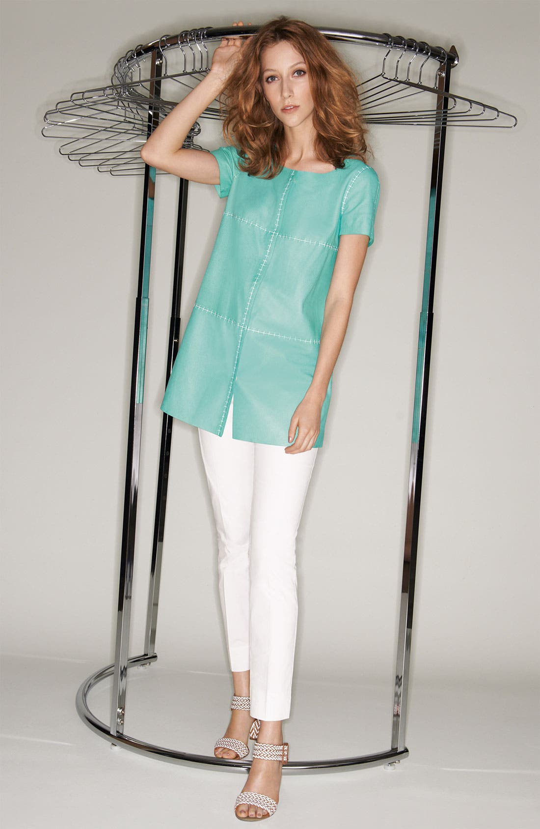 Alternate Image 1 Selected - Lafayette 148 New York Lambskin Tunic & Zip Ankle Pants
