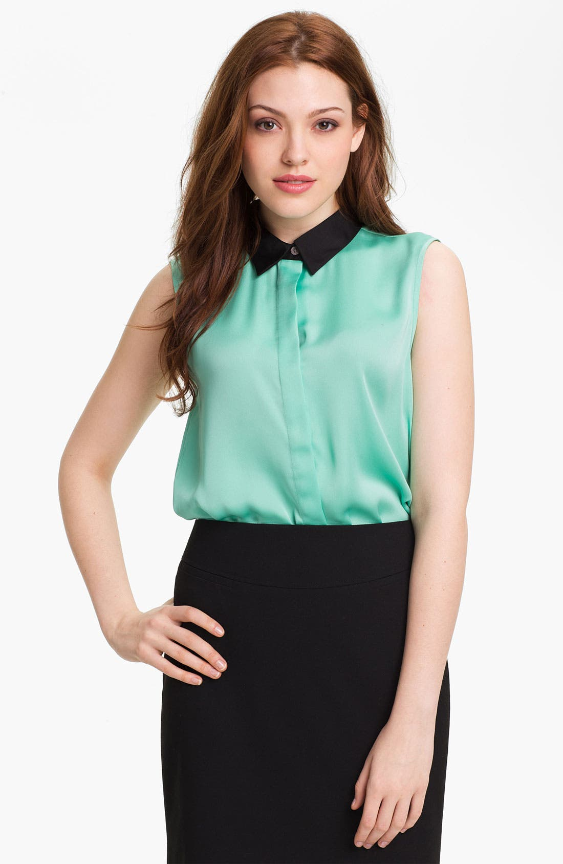Alternate Image 1 Selected - Vince Camuto Contrast Collar Sleeveless Blouse