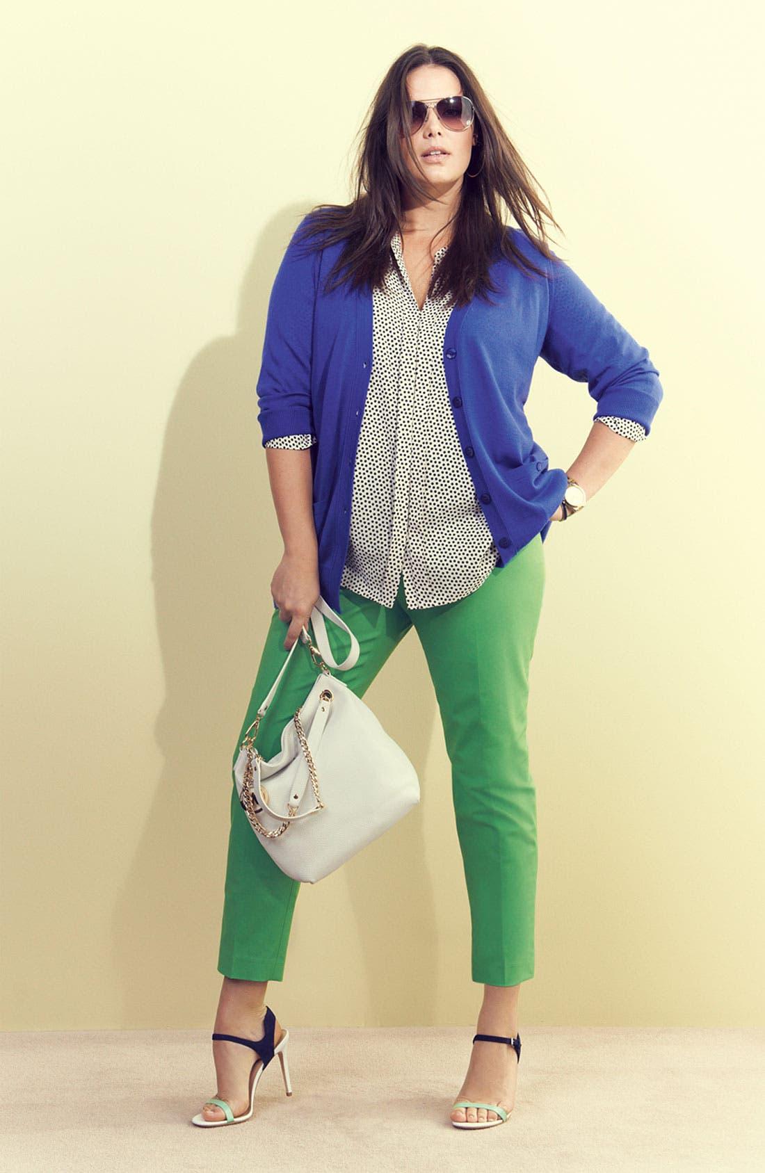 Alternate Image 2  - Sejour 'Girlfriend' Three Quarter Sleeve Cardigan (Plus Size)
