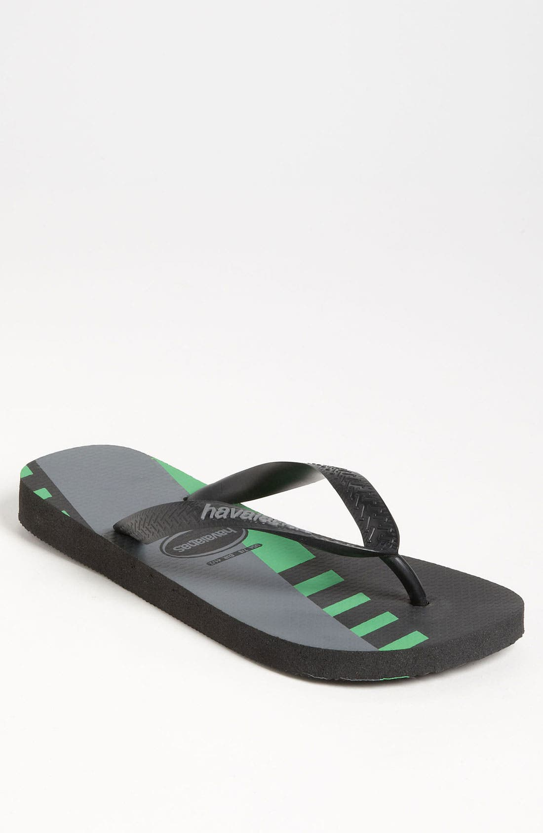 TREND Mens Flip Flop,                             Main thumbnail 1, color,                             Black/ Green