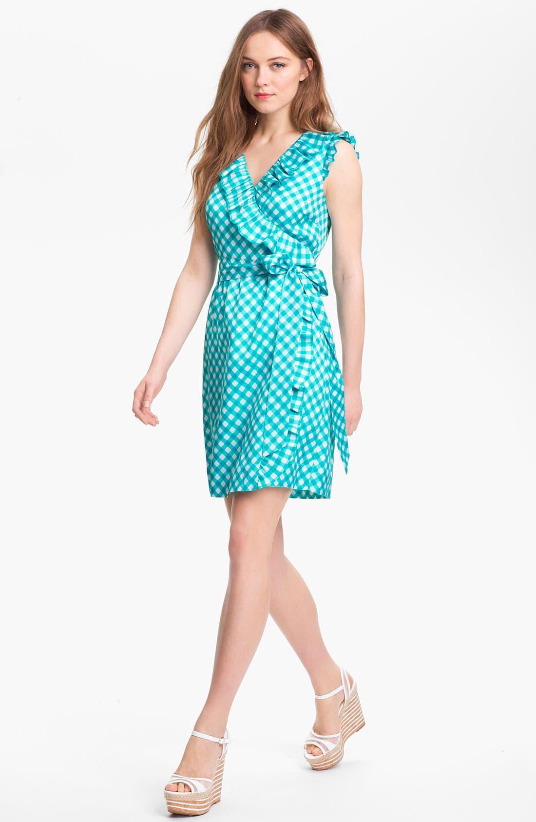 'aubrey' silk blend wrap dress,                         Main,                         color, Firoza Spring Gingham