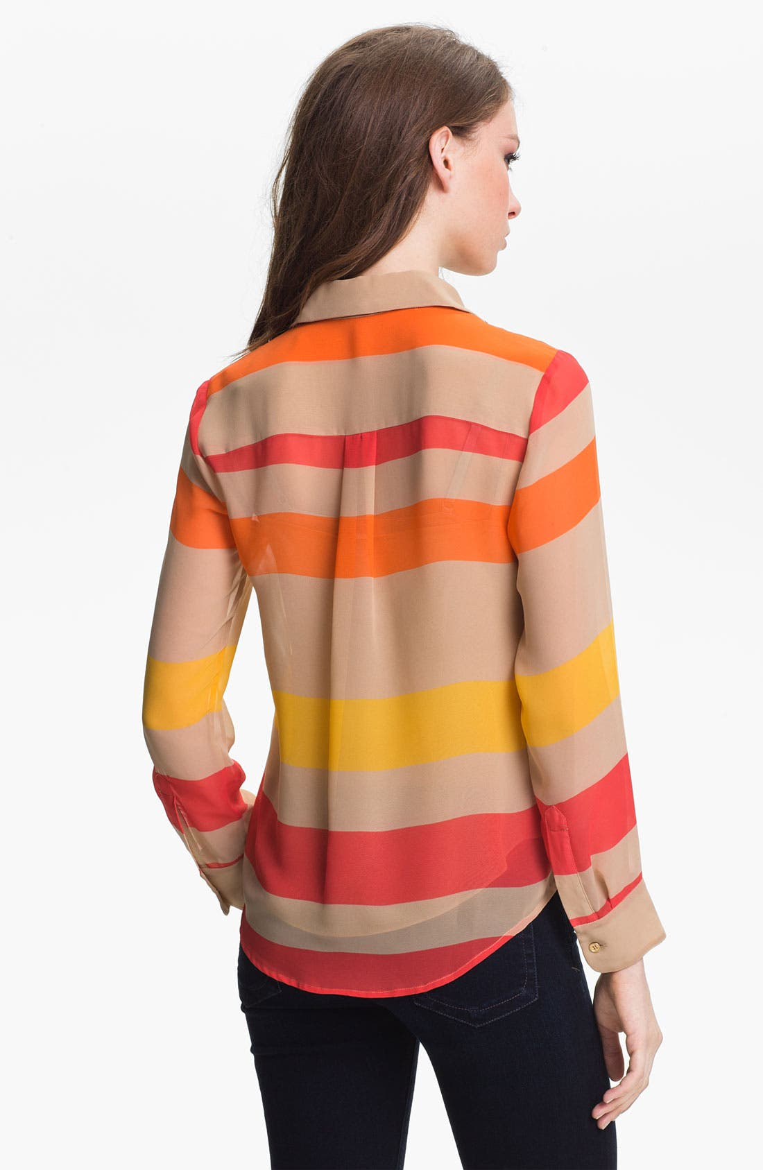 Alternate Image 2  - Vince Camuto Multi Stripe Blouse with Camisole (Petite)