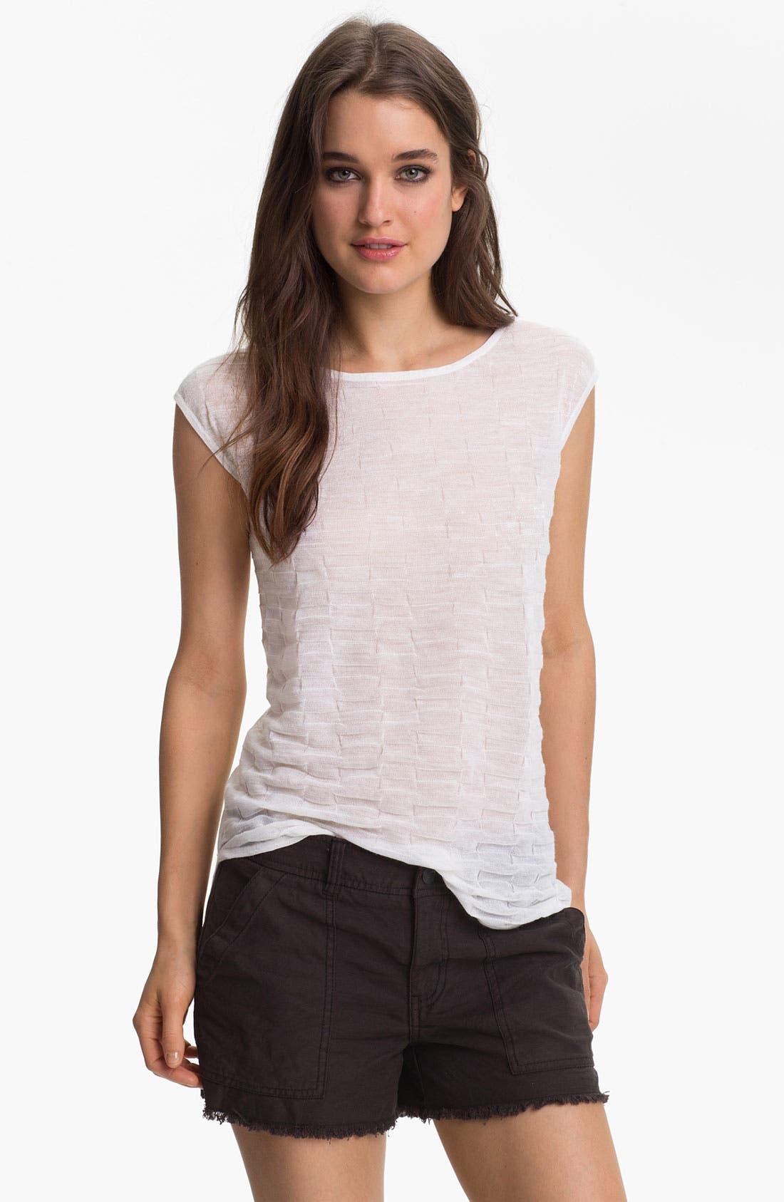Main Image - Trouvé Textured Sheer Cap Sleeve Top
