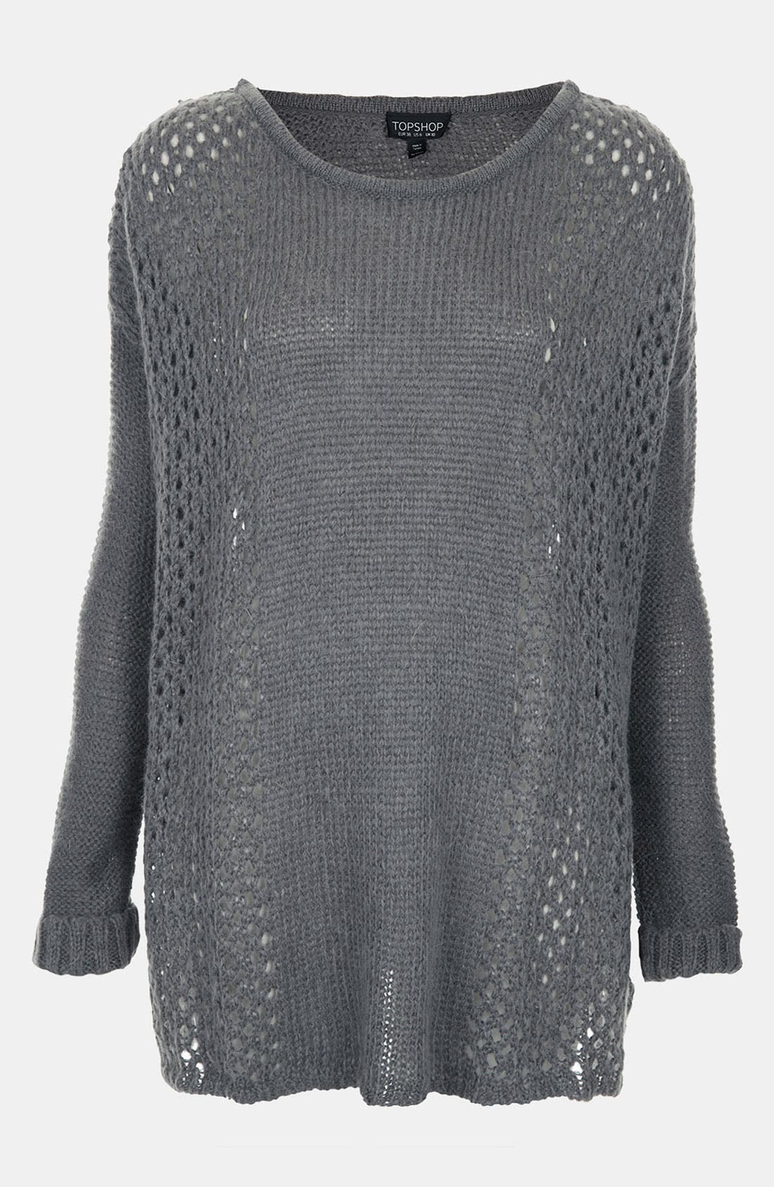 Main Image - Topshop 'Rock Girl' Slouchy Mesh Knit Sweater