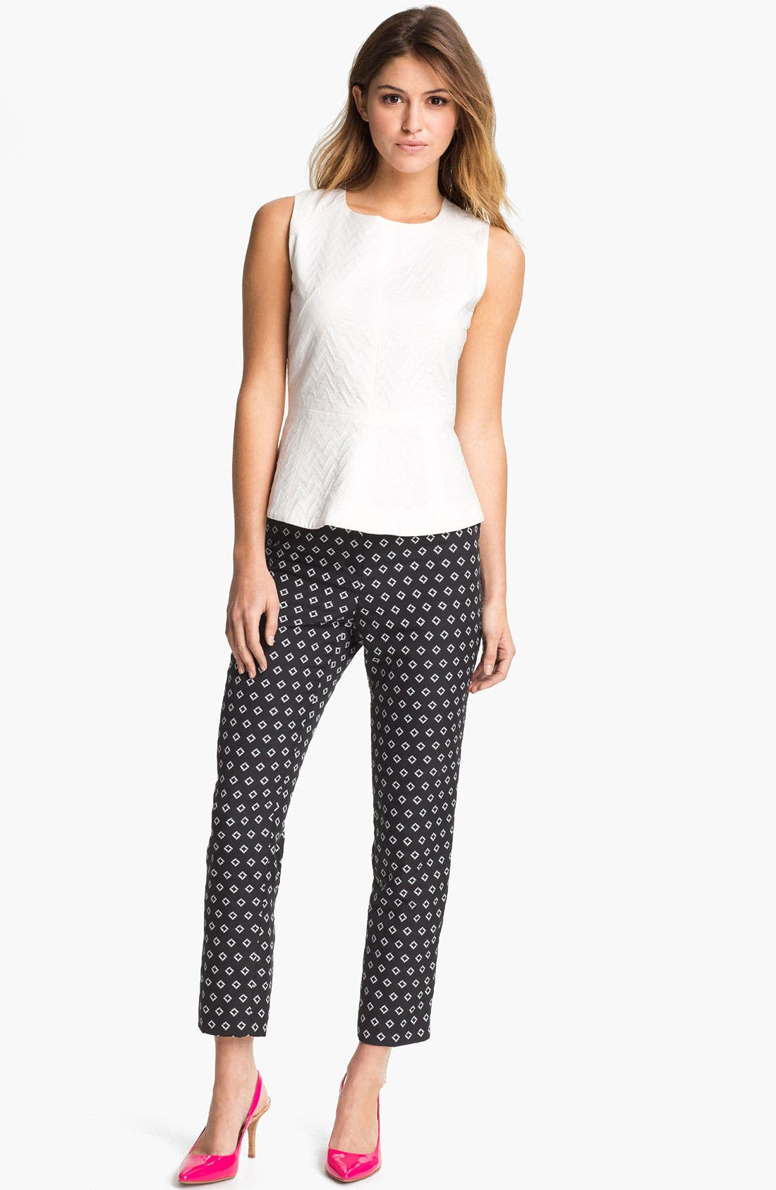 Alternate Image 1 Selected - Vince Camuto Diamond Jacquard Skinny Ankle Pants