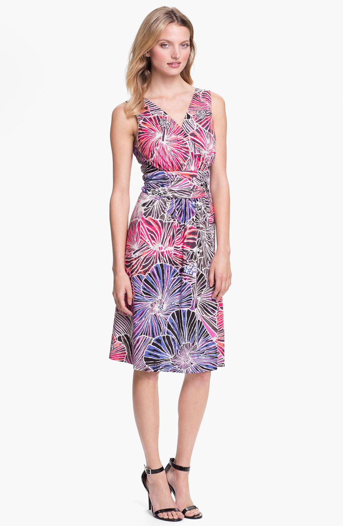 Main Image - Nic + Zoe Sleeveless Surplice V-Neck Print Dress