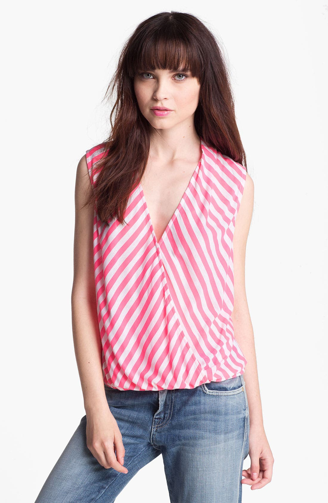 Alternate Image 1 Selected - Ella Moss Neon Stripe Cutout Surplice Tank