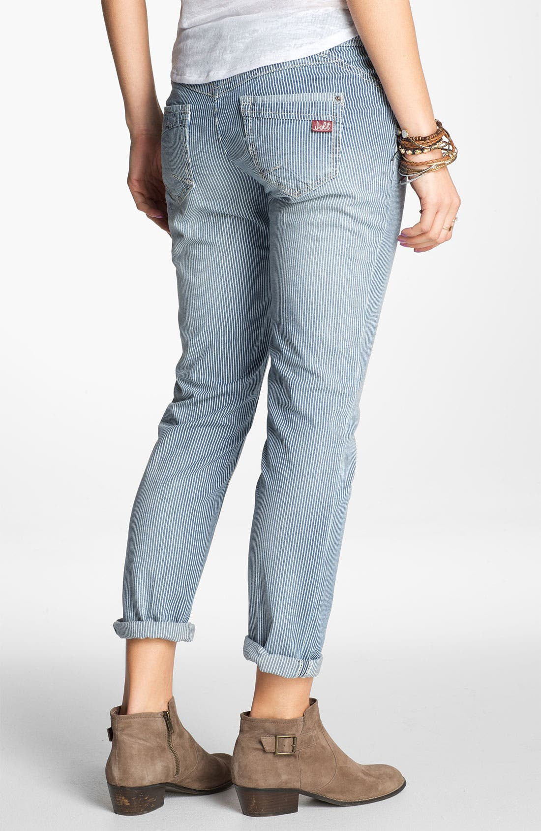 Alternate Image 2  - Jolt 'Railroad Stripe' Crop Skinny Jeans (Juniors)