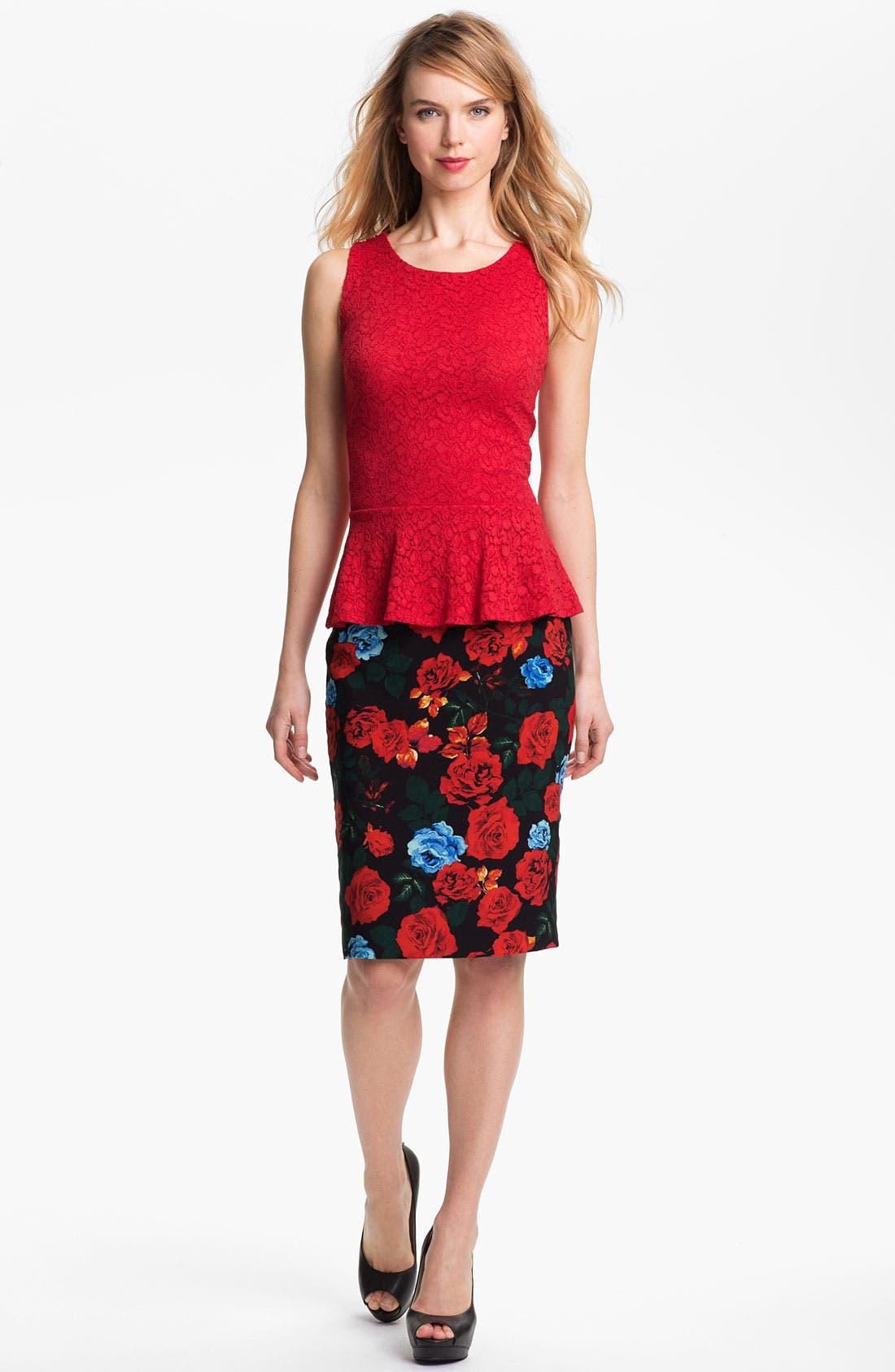 Alternate Image 4  - Vince Camuto Rose Print Pencil Skirt