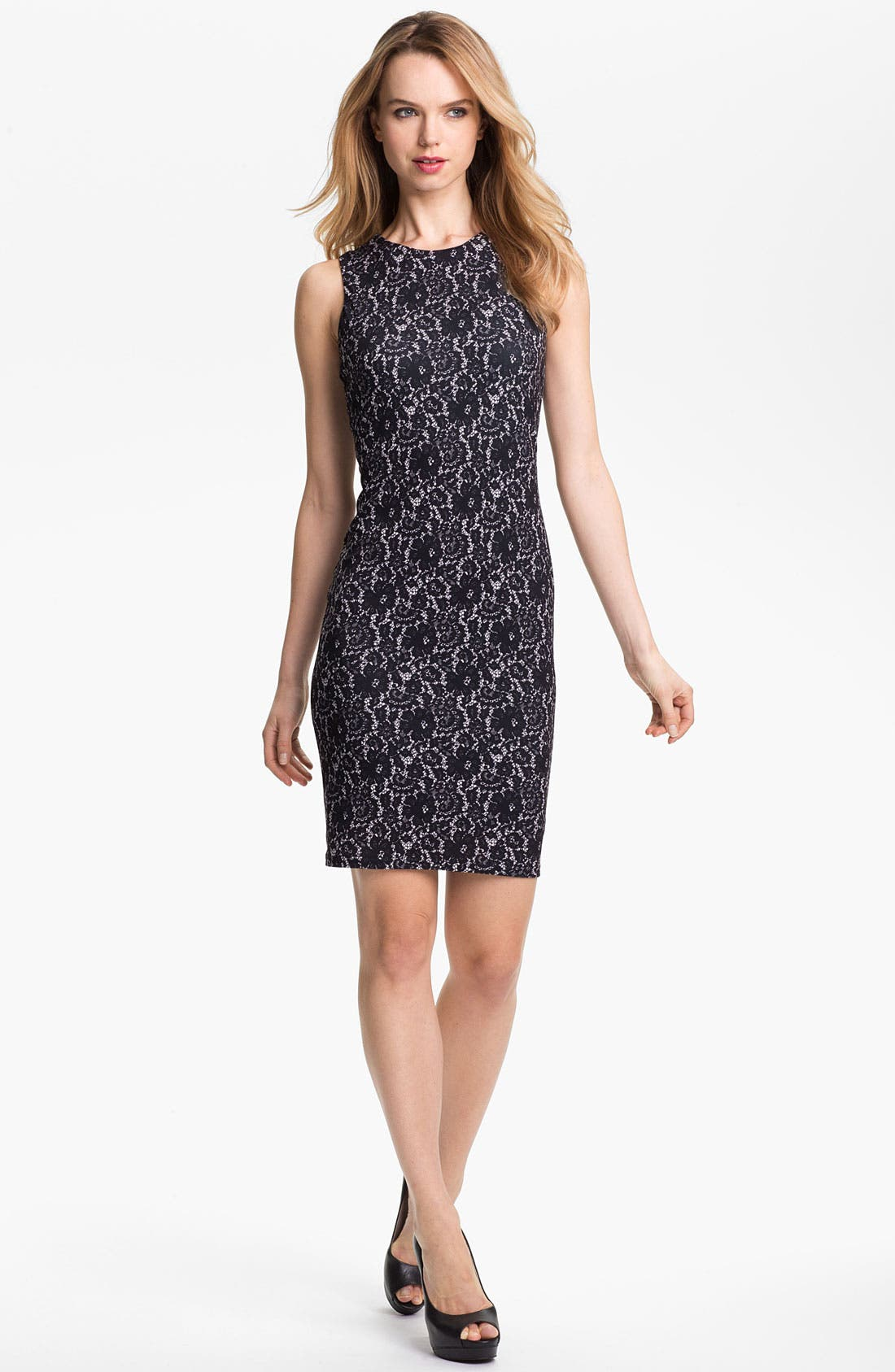 Alternate Image 1 Selected - Vince Camuto Lace Print Sheath Dress