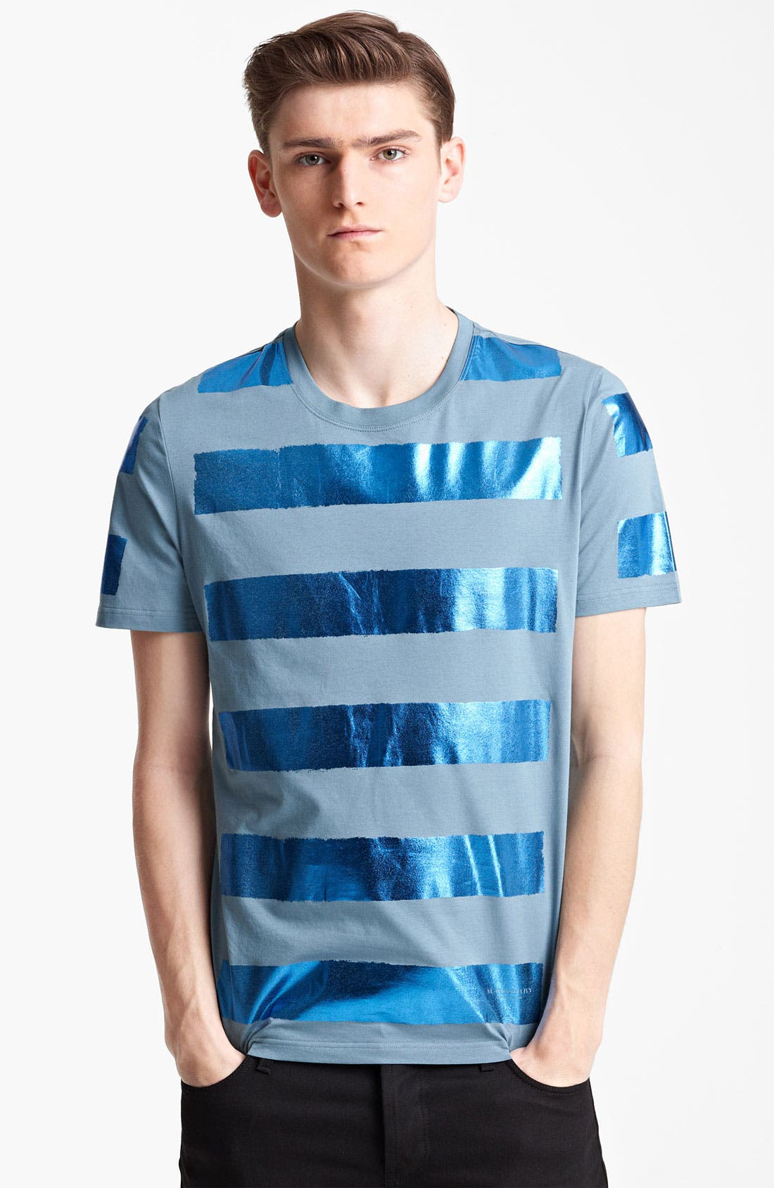 Alternate Image 1 Selected - Burberry Prorsum Metallic Stripe T-Shirt