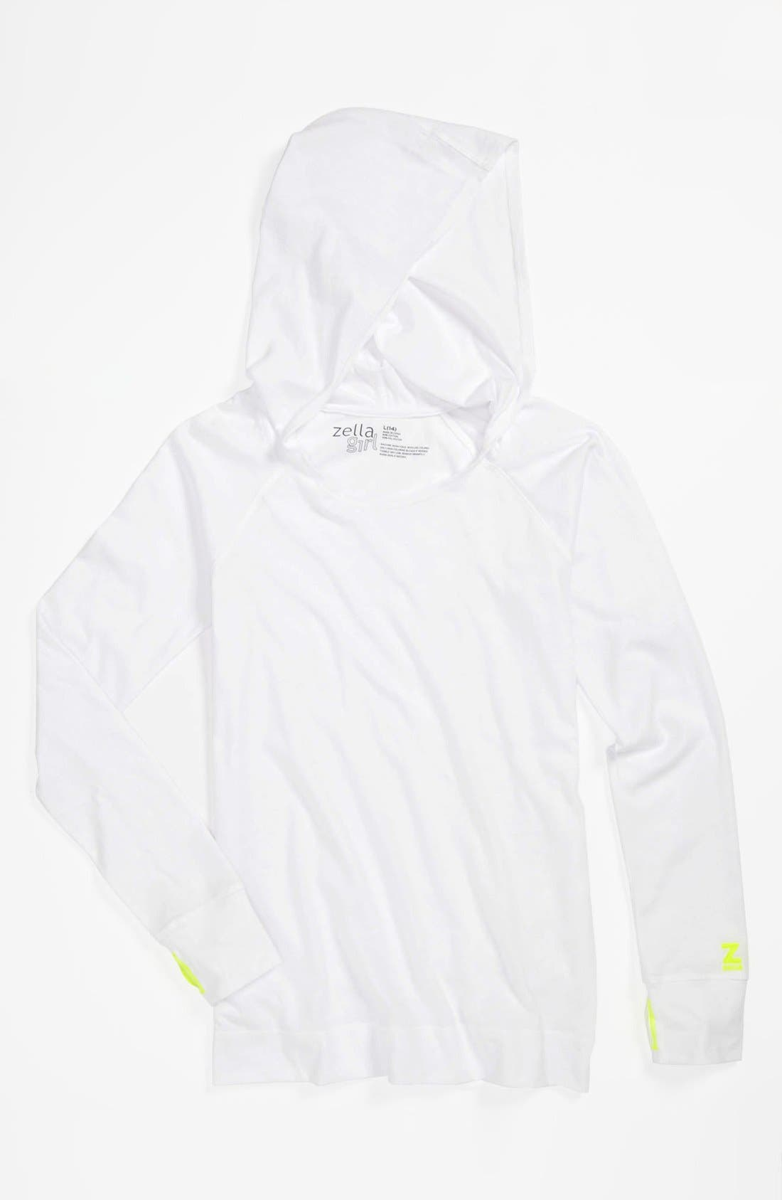 Alternate Image 1 Selected - Zella Girl 'Sporty' Hooded Tunic Tee (Little Girls & Big Girls)