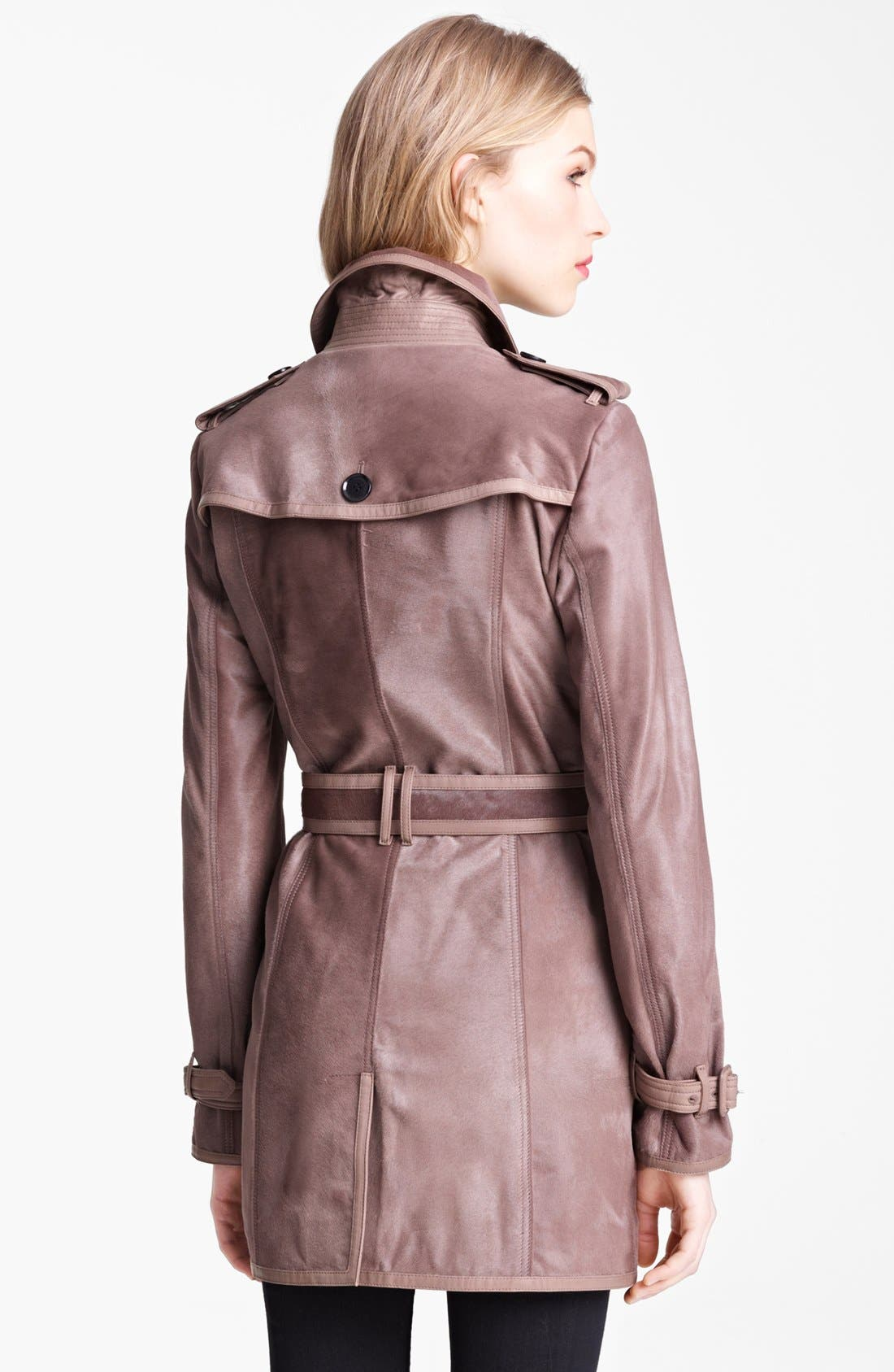 Alternate Image 2  - Burberry London Shiny Calf Hair Trench Coat