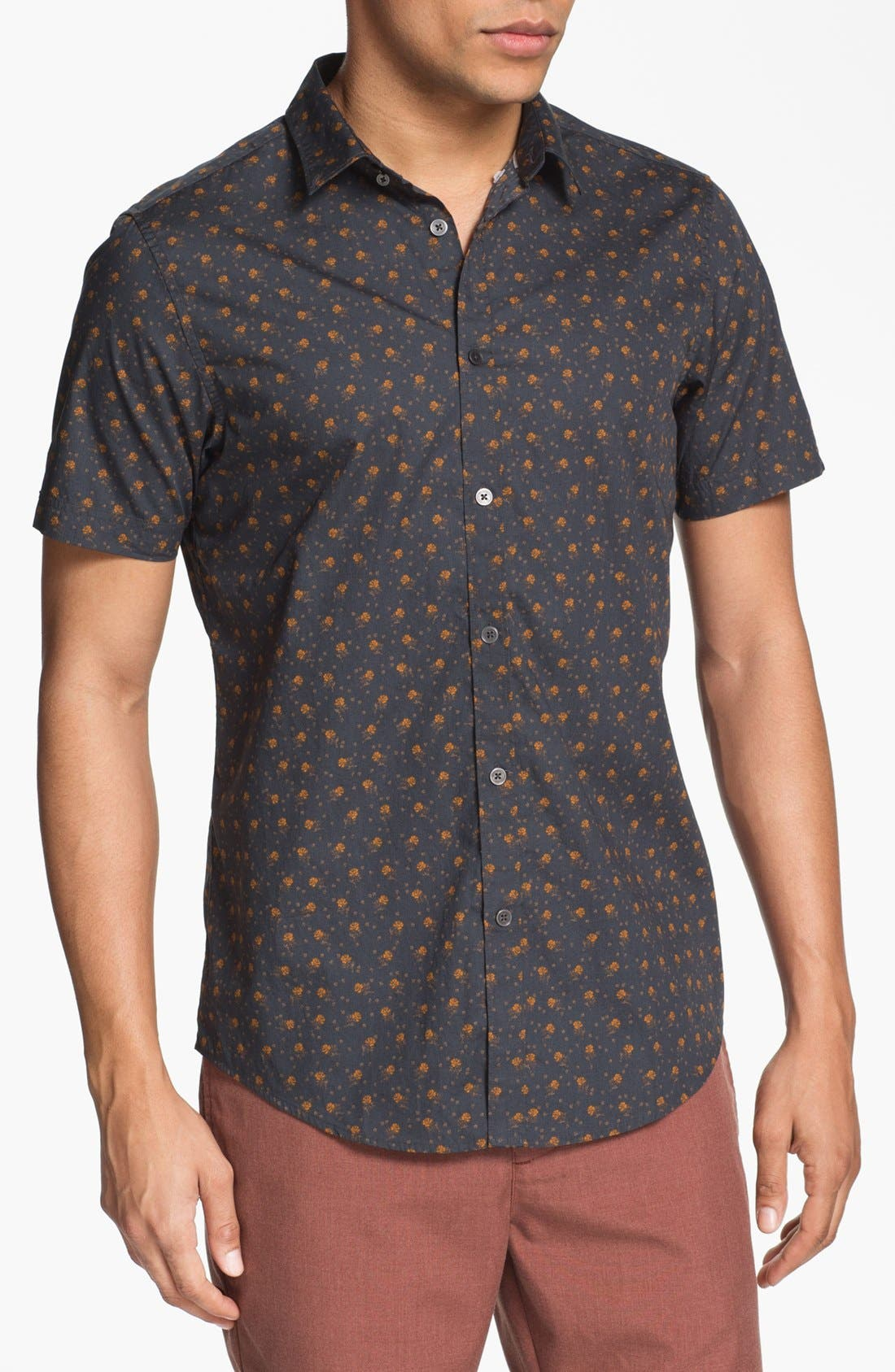 Floral Print Woven Shirt,                         Main,                         color, Forged Black