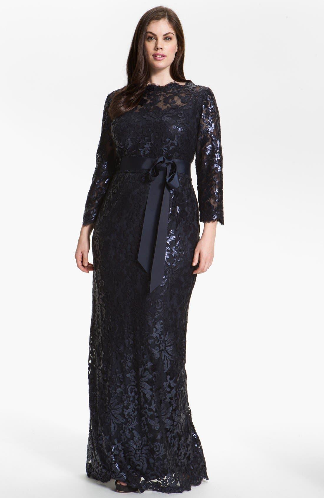 Alternate Image 1 Selected - Tadashi Shoji Embellished Lace Column Gown (Plus Size) (Nordstrom Exclusive)
