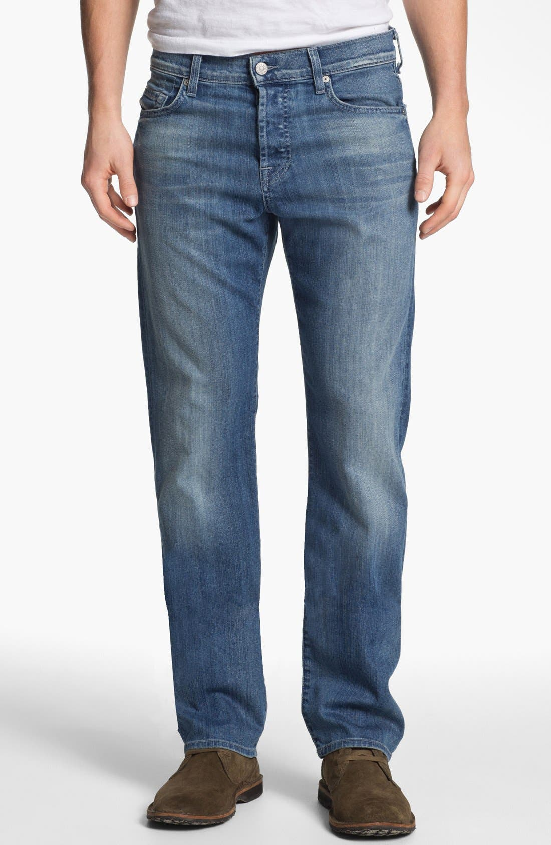 Main Image - 7 For All Mankind® 'Standard' Straight Leg Jeans (Washed Out)