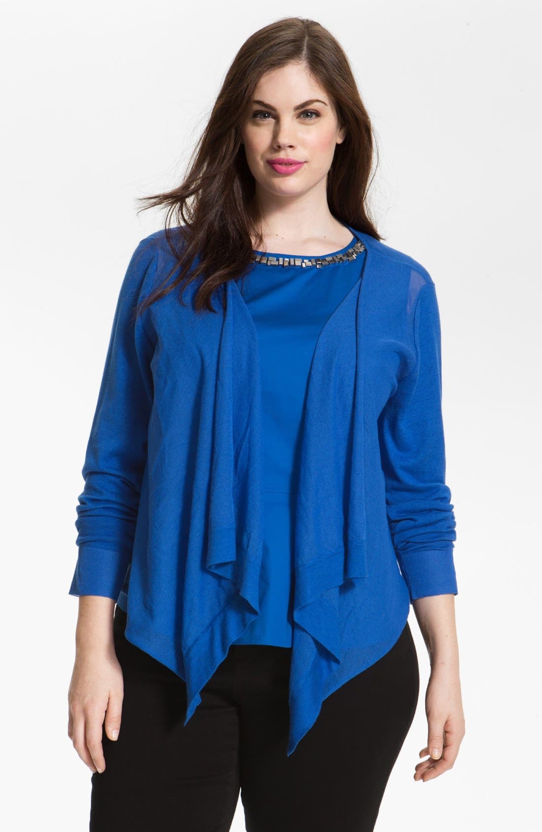Alternate Image 1 Selected - DKNYC Draped Cardigan (Plus Size)