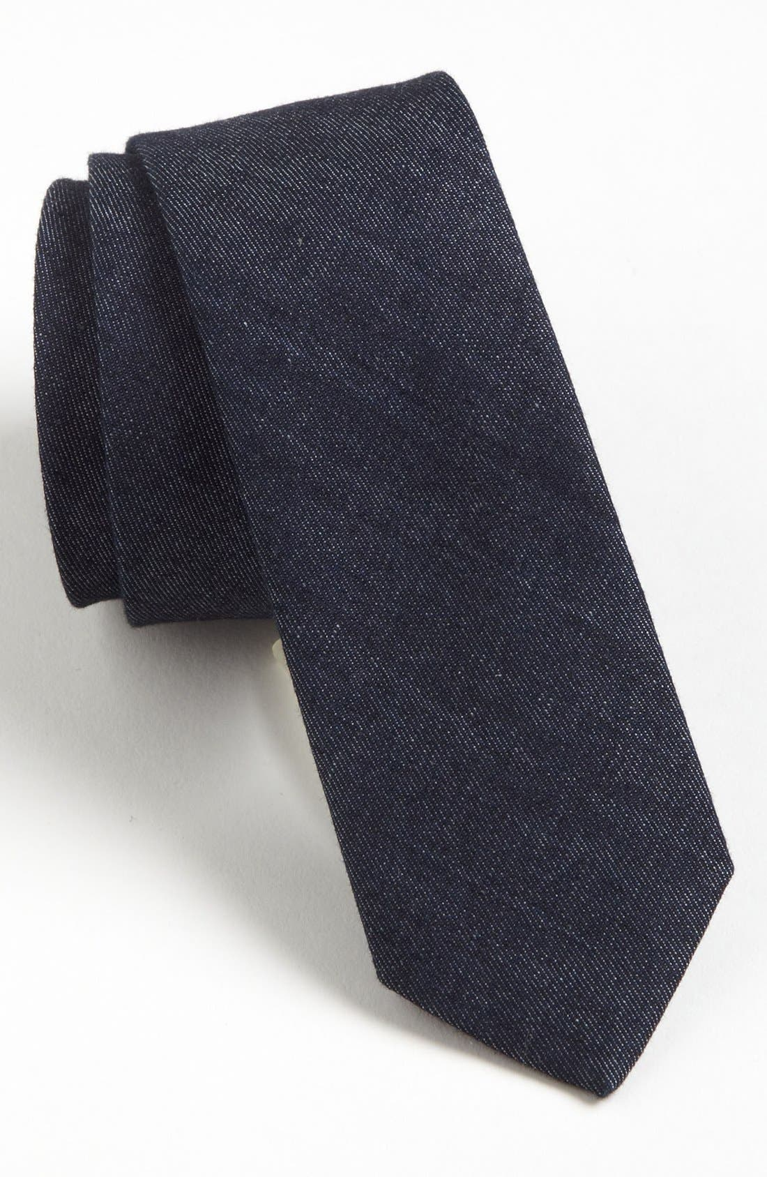 Main Image - Topman Woven Cotton Denim Tie