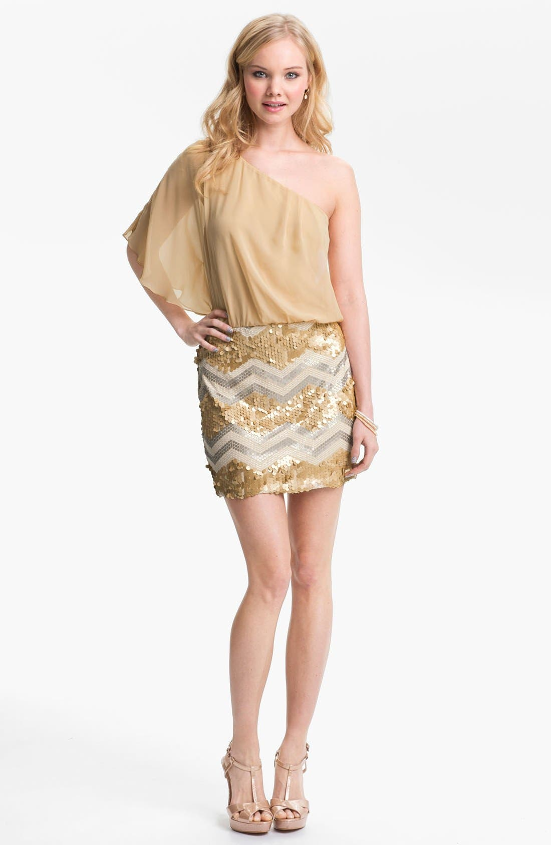 Main Image - As U Wish One-Shoulder Sequin Skirt Dress (Juniors)