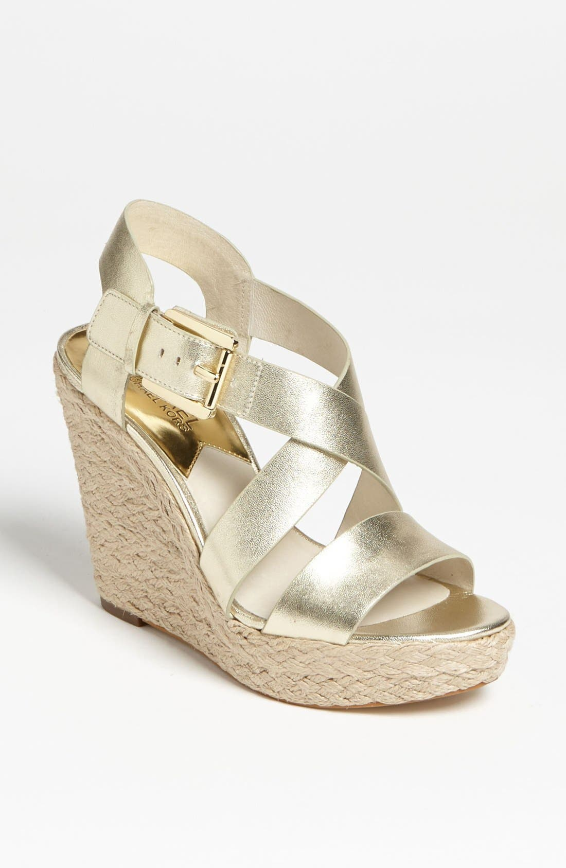 'Giovanna' Wedge Sandal,                         Main,                         color, Pale Gold
