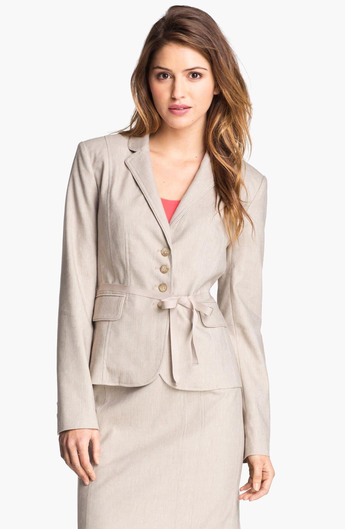 Alternate Image 2  - Halogen® Belted Herringbone Jacket