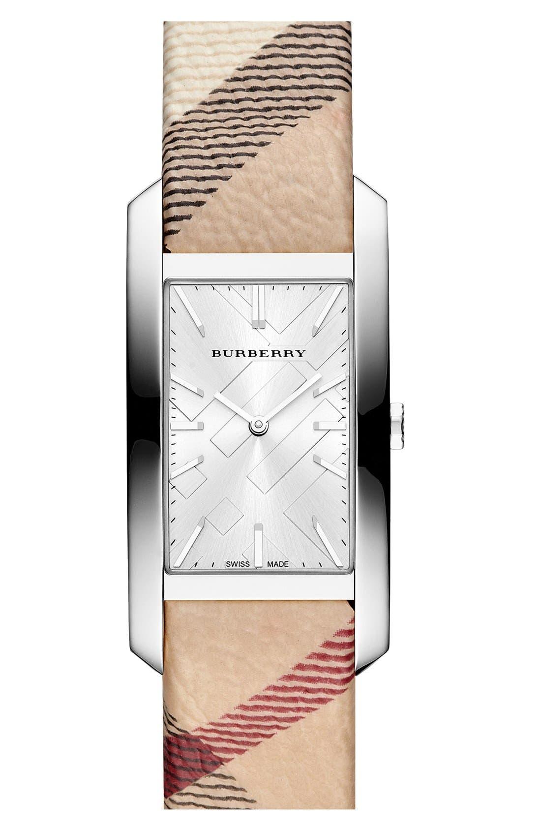Main Image - Burberry Rectangular Check Strap Watch, 20mm x 26mm