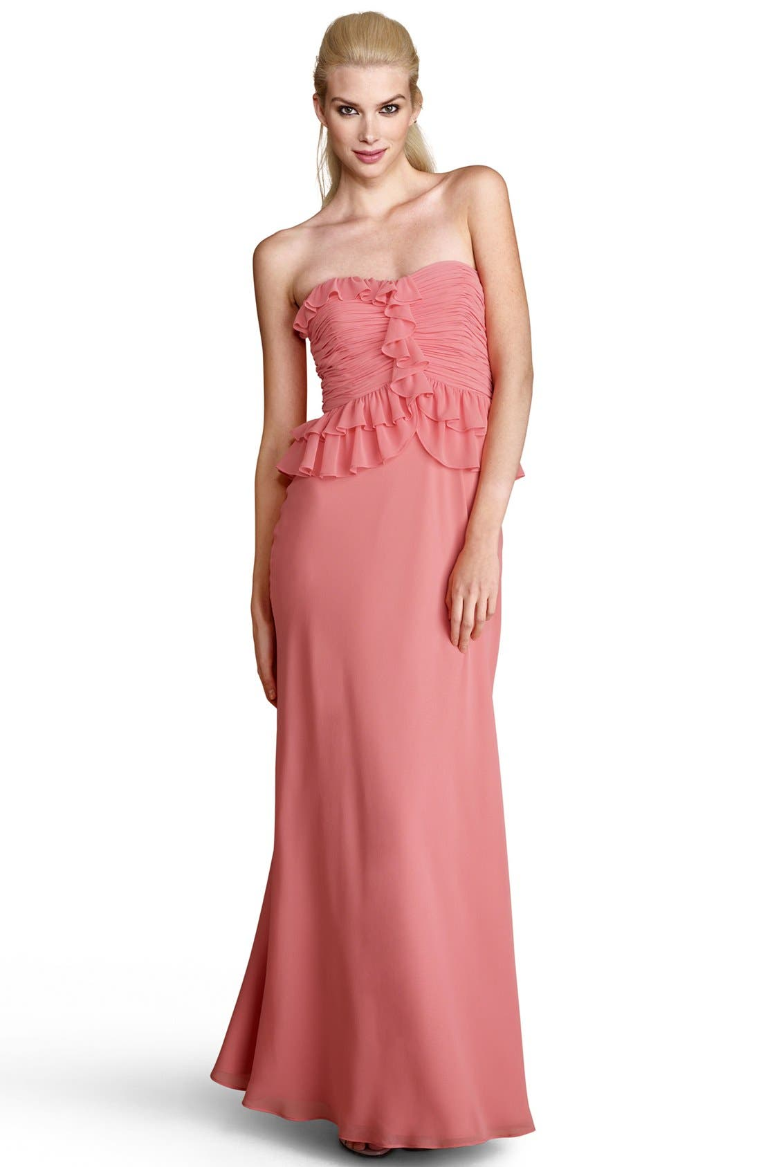 Main Image - Donna Morgan Ruffled Peplum Chiffon Gown