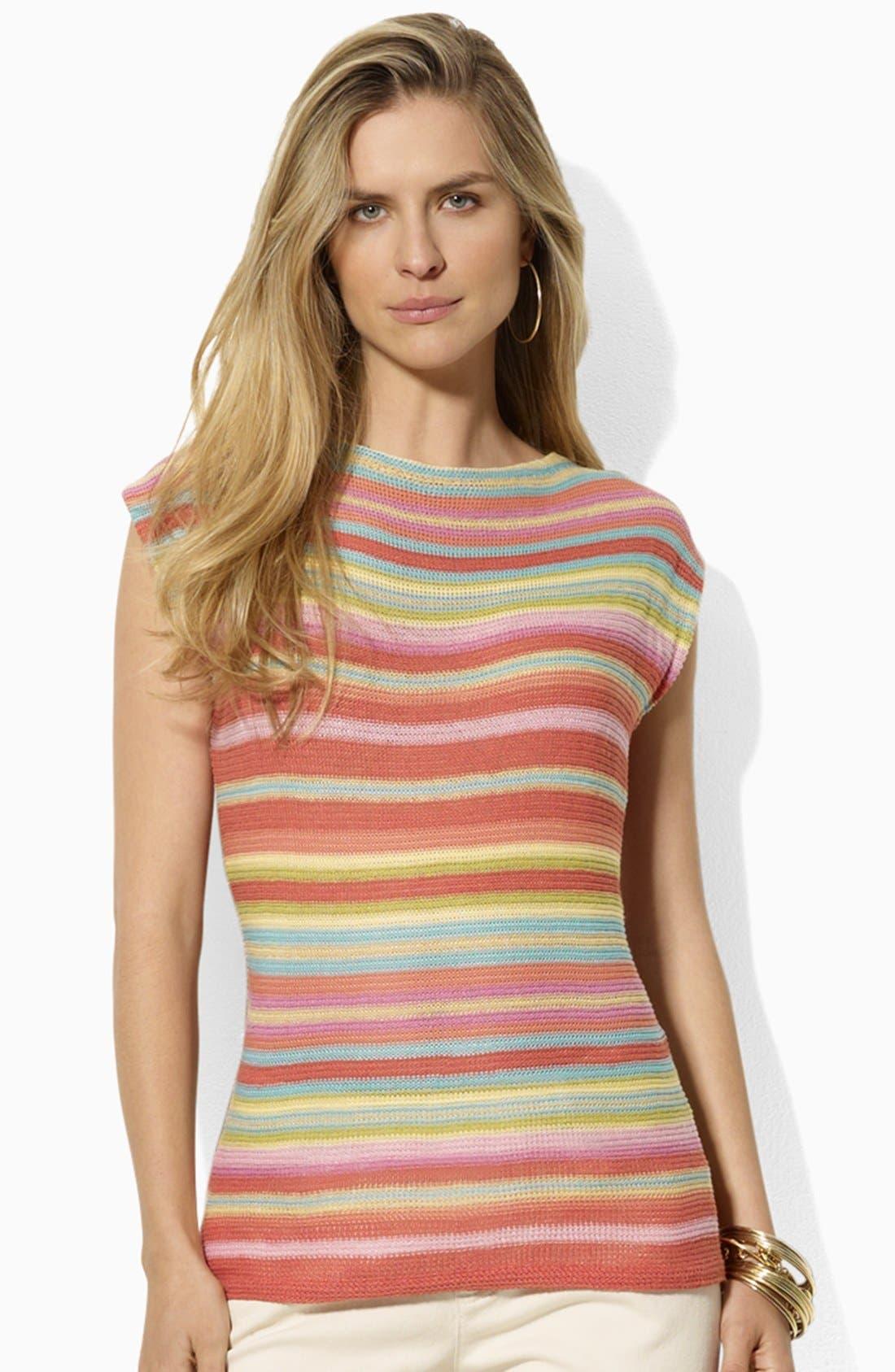 Main Image - Lauren Ralph Lauren Drop Shoulder Stripe Sweater (Petite) (Online Only)