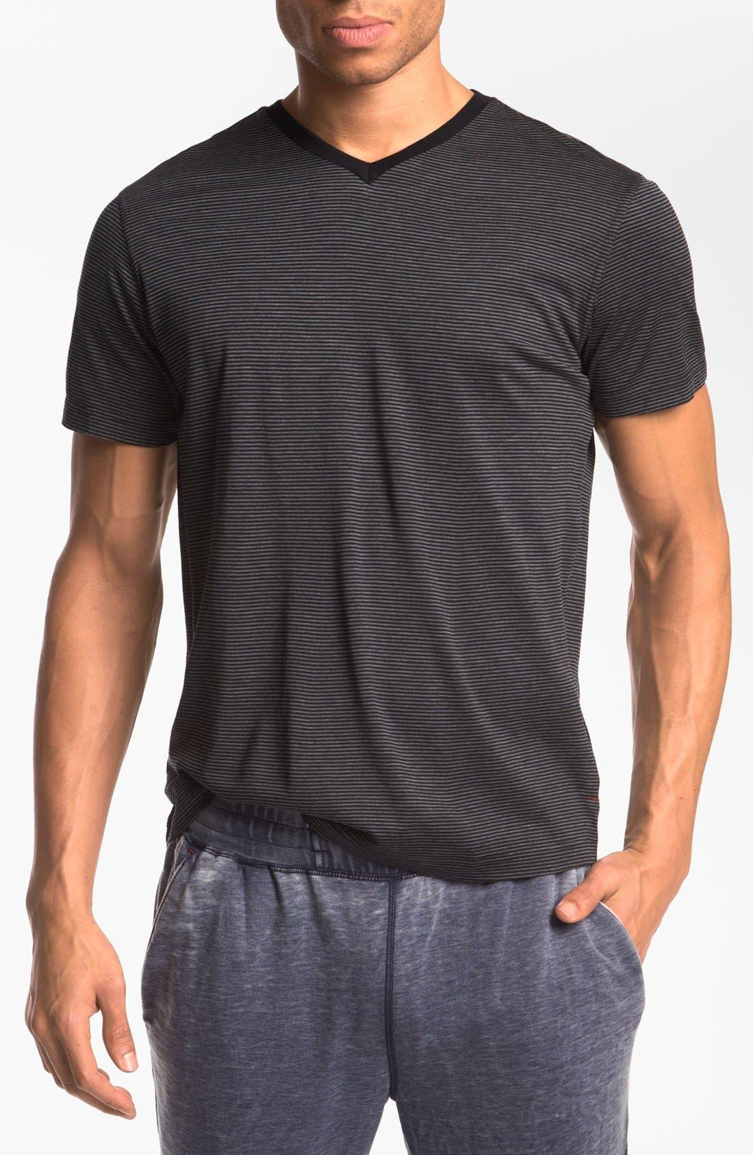 Silk & Cotton V-Neck T-Shirt,                         Main,                         color, Navy Stripe