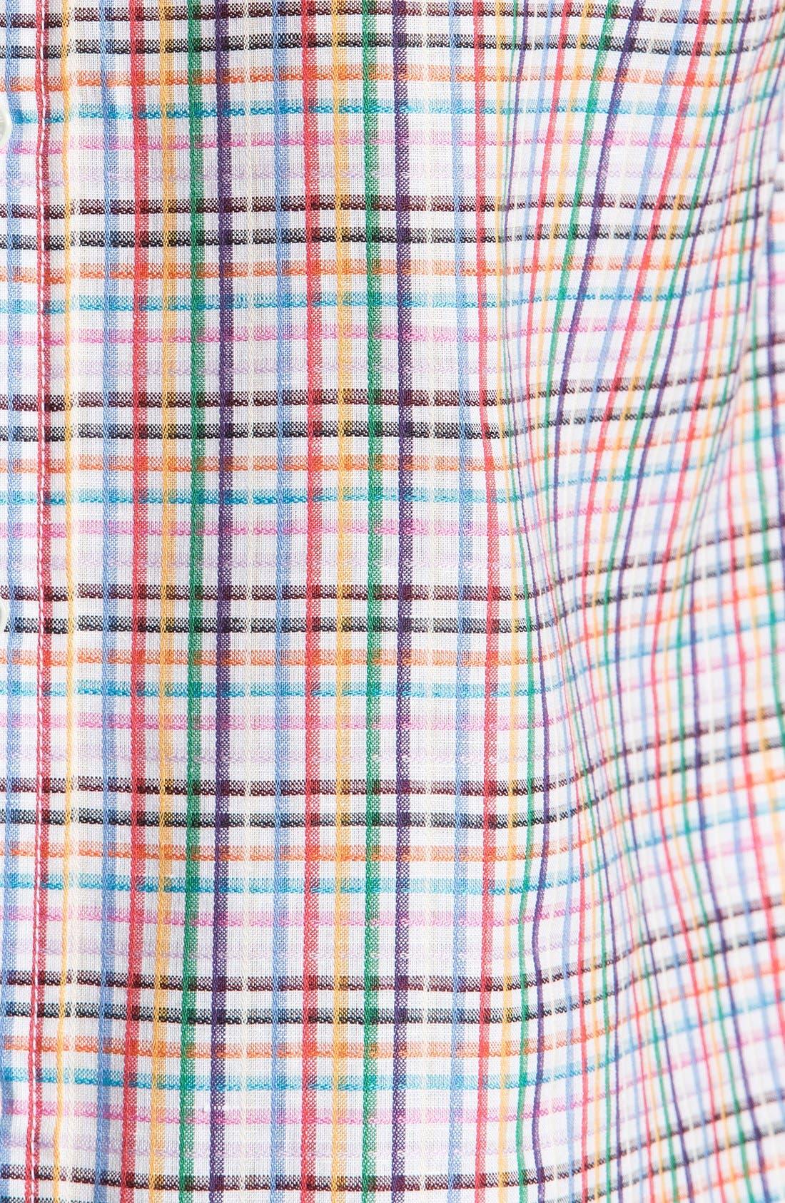 Alternate Image 3  - BUGATCHI Shaped Fit Short Sleeve Linen Sport Shirt