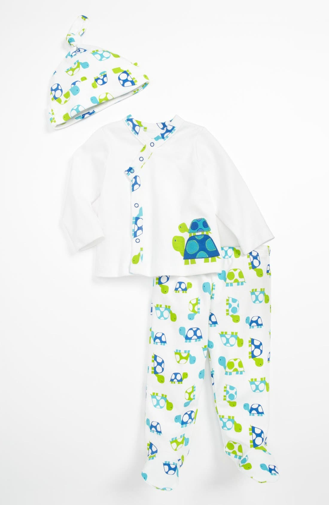 Main Image - Offspring 'Turtle' Cardigan, Footed Pants & Hat (Baby)