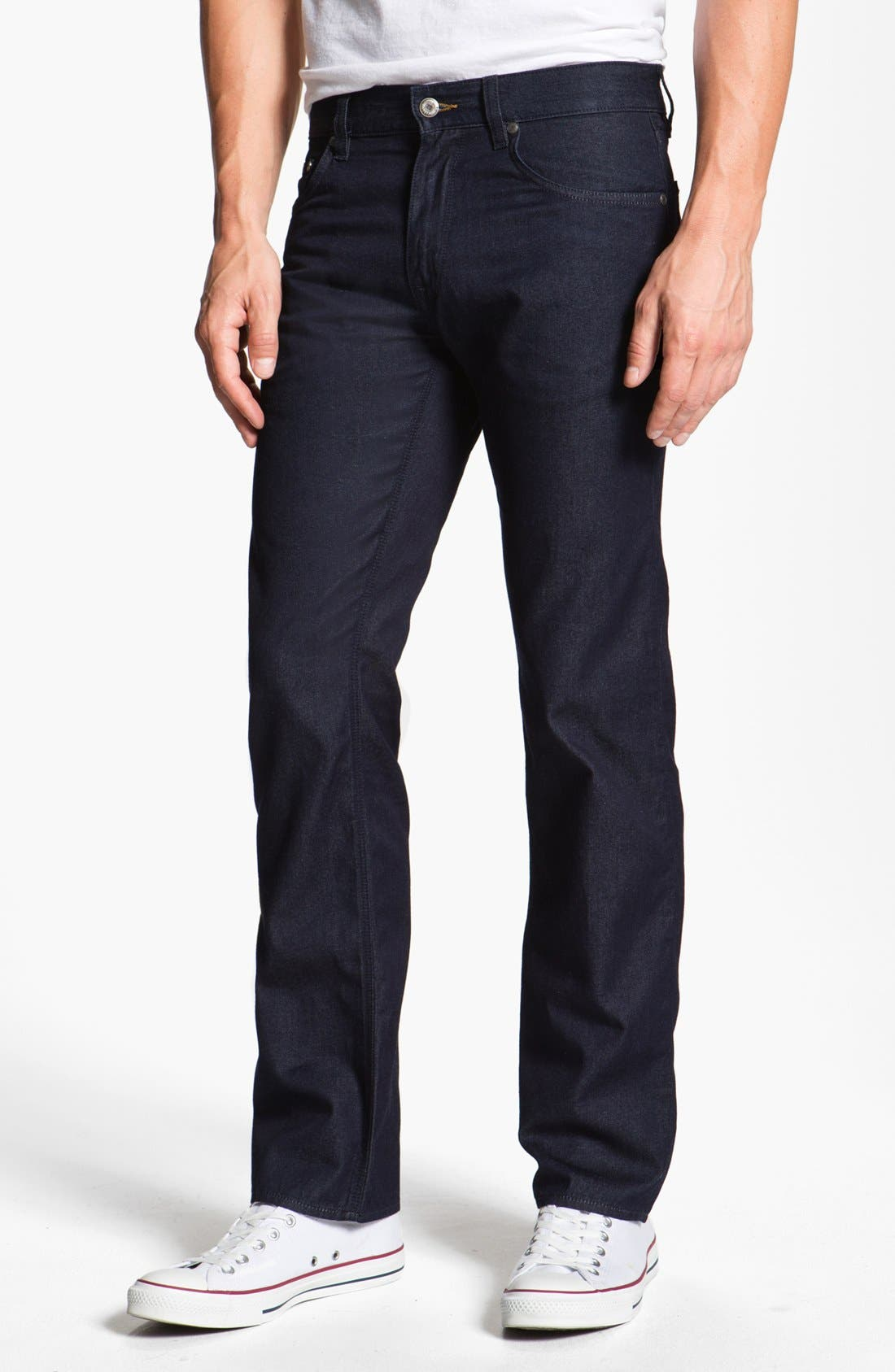 Alternate Image 1 Selected - BOSS Black 'Maine' Straight Leg Jeans (Dark Rinse)