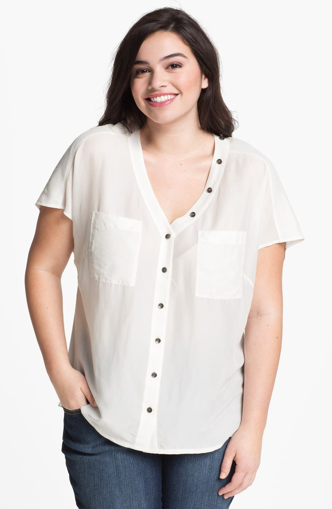 Alternate Image 1 Selected - Sejour Button Detail Short Sleeve Blouse (Plus Size)