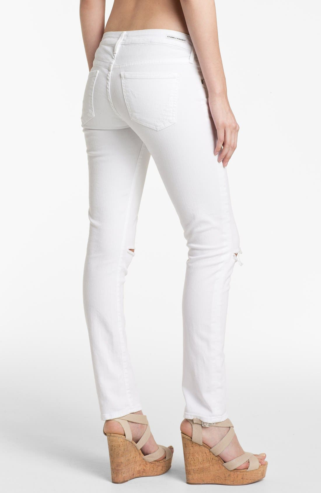 Alternate Image 2  - Citizens of Humanity 'Racer' Distressed Skinny Jeans (Santorini)