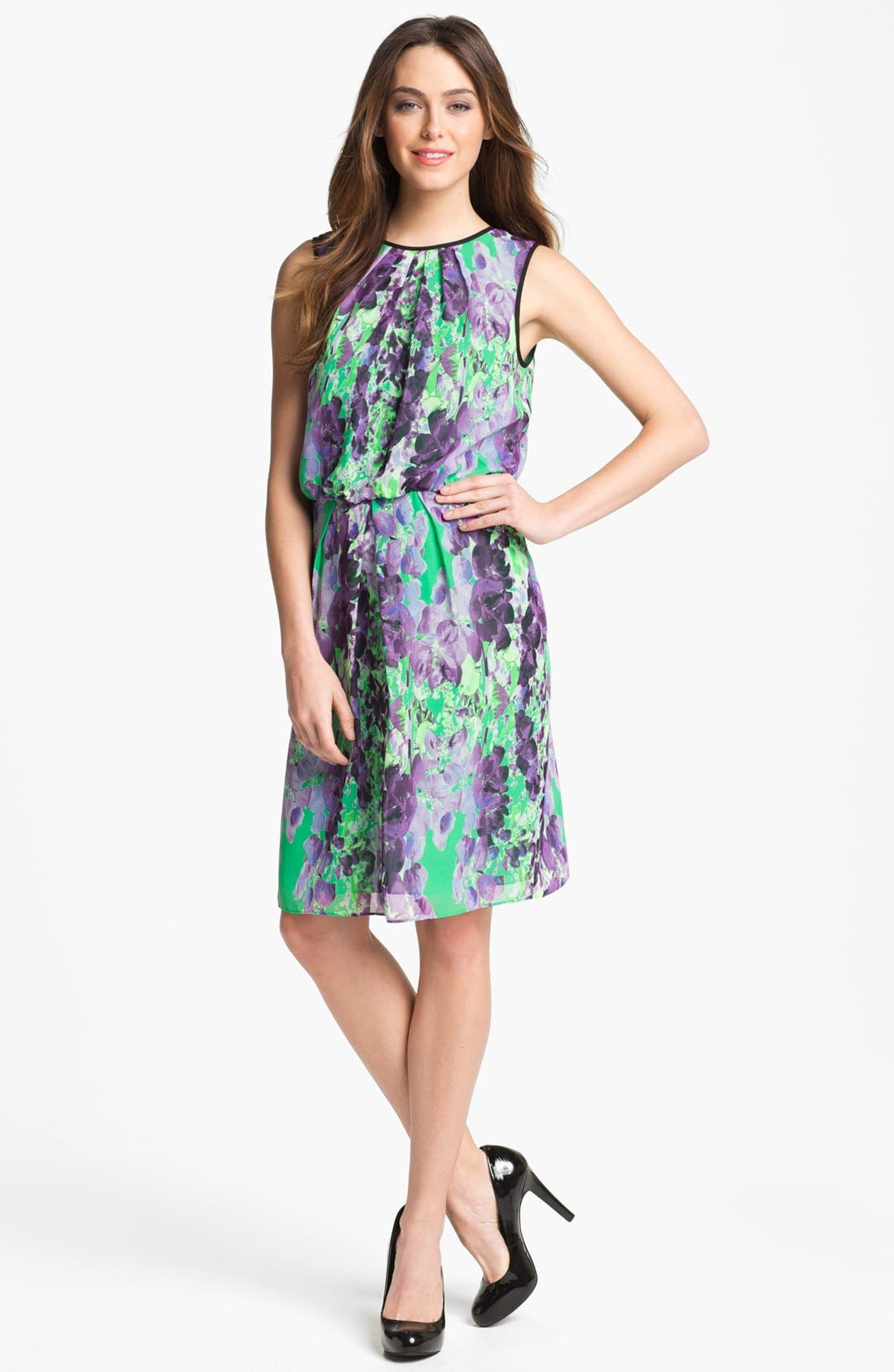Alternate Image 1 Selected - Adrianna Papell Floral Print Blouson Dress