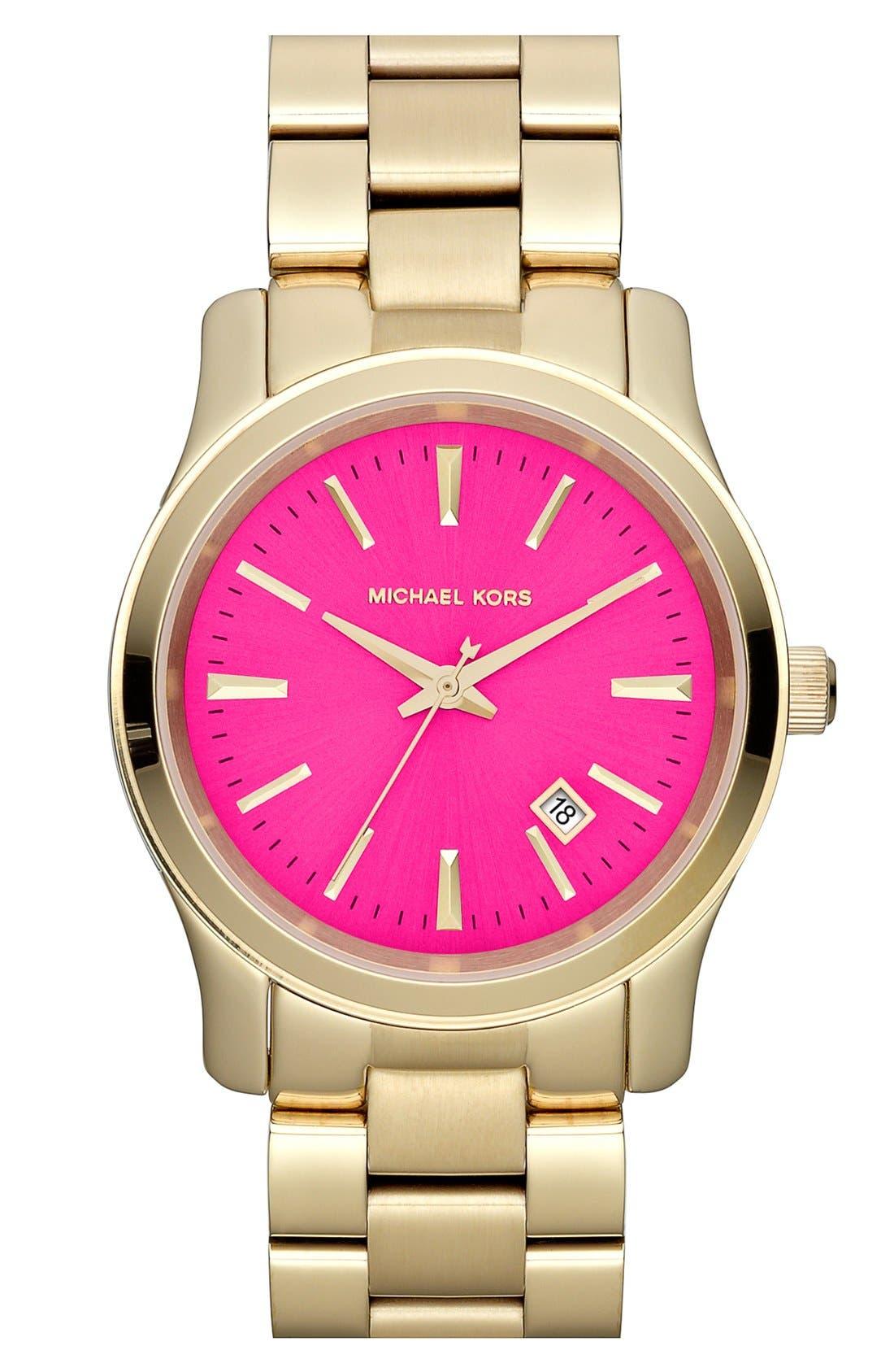 Michael Kors 'Jet Set Sport' Watch, 38mm,                         Main,                         color, Gold/ Hot Pink