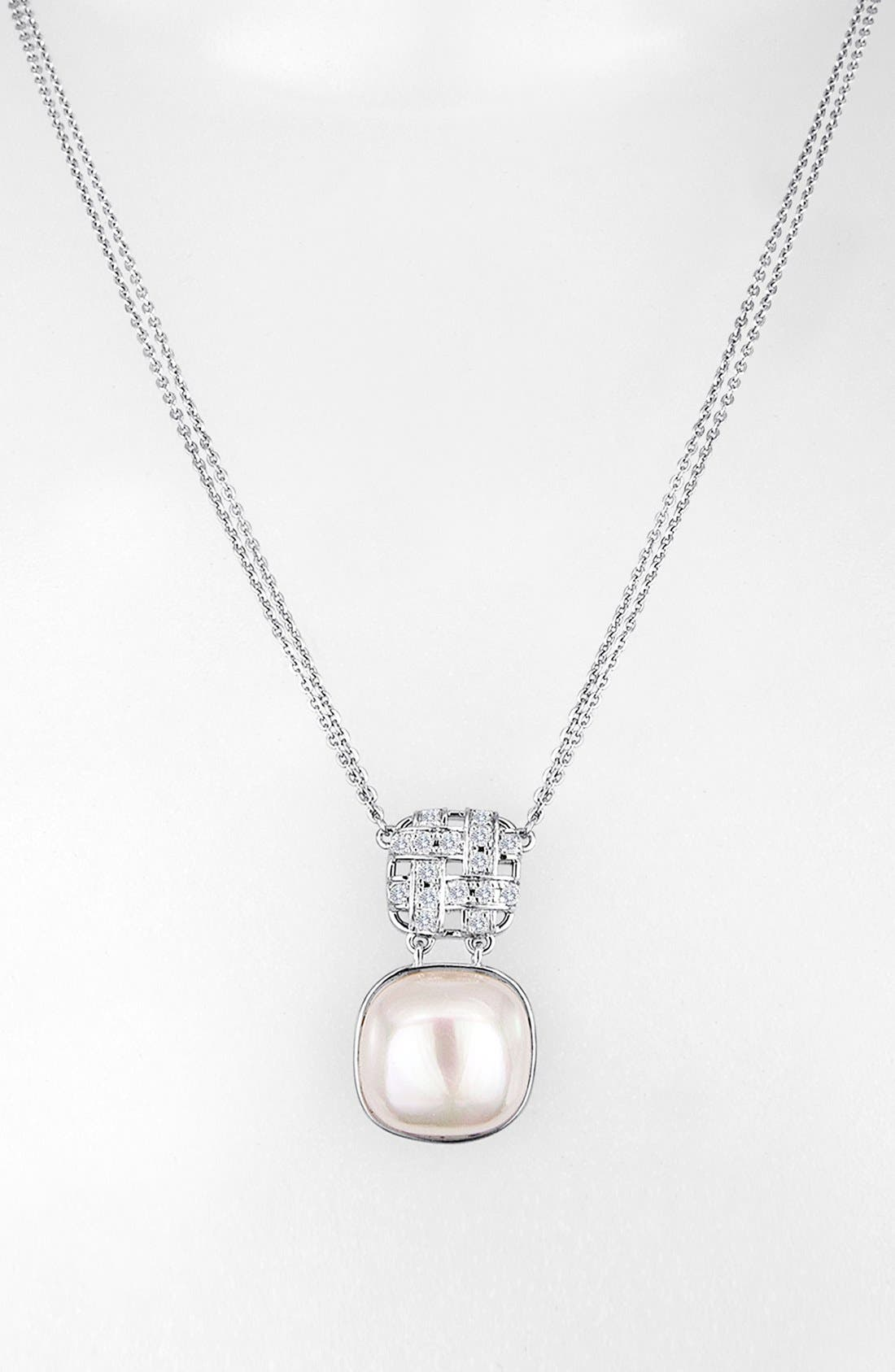 Alternate Image 2  - Majorica 'Graphic Contrast' 15mm Pearl & Cubic Zirconia Necklace
