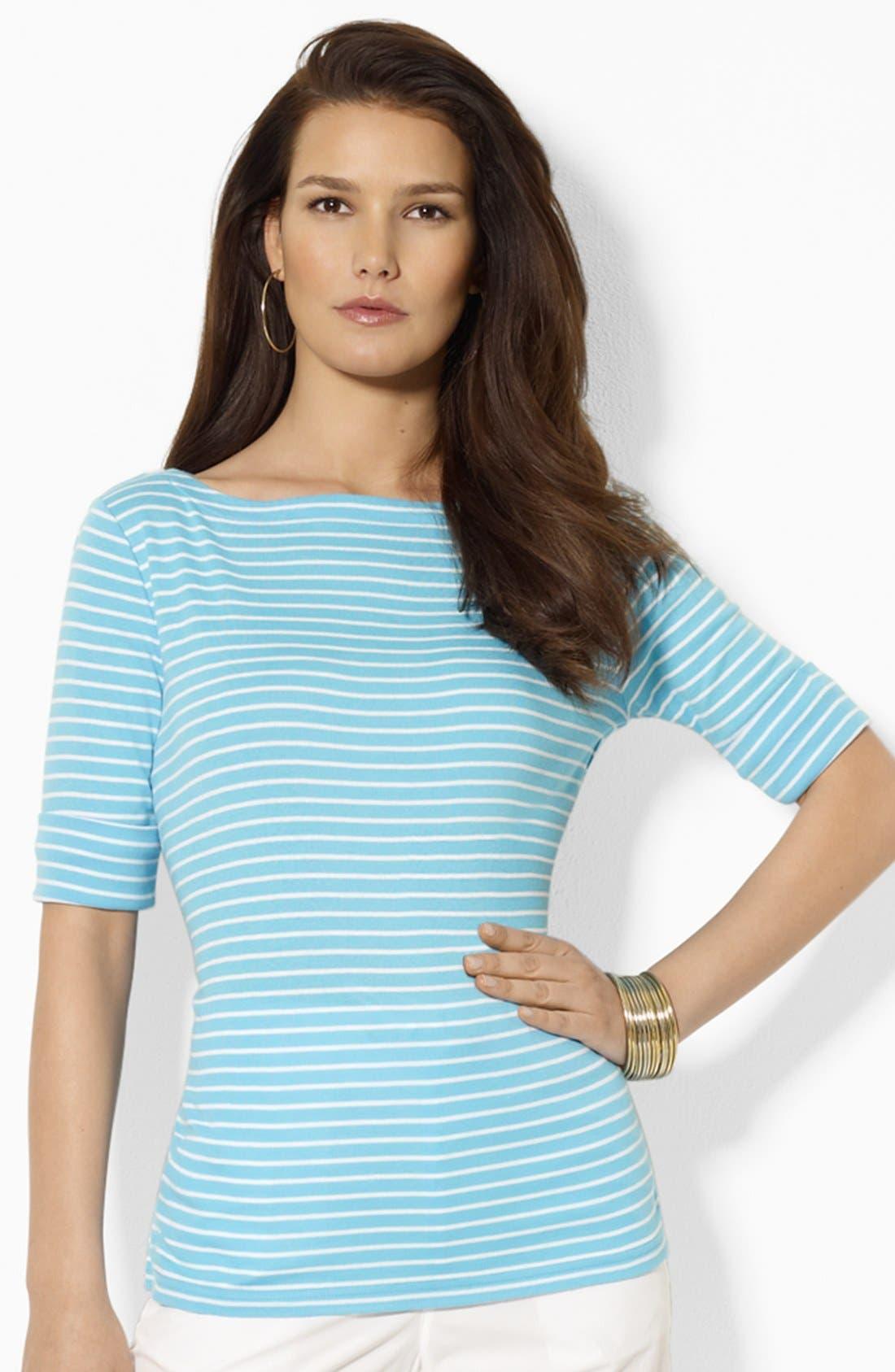 Main Image - Lauren Ralph Lauren Elbow Sleeve Stripe Top