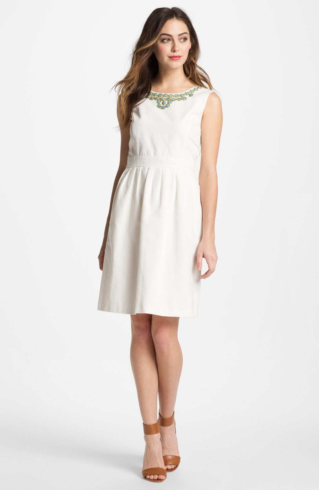 Alternate Image 1 Selected - Ellen Tracy Embellished Fit & Flare Dress