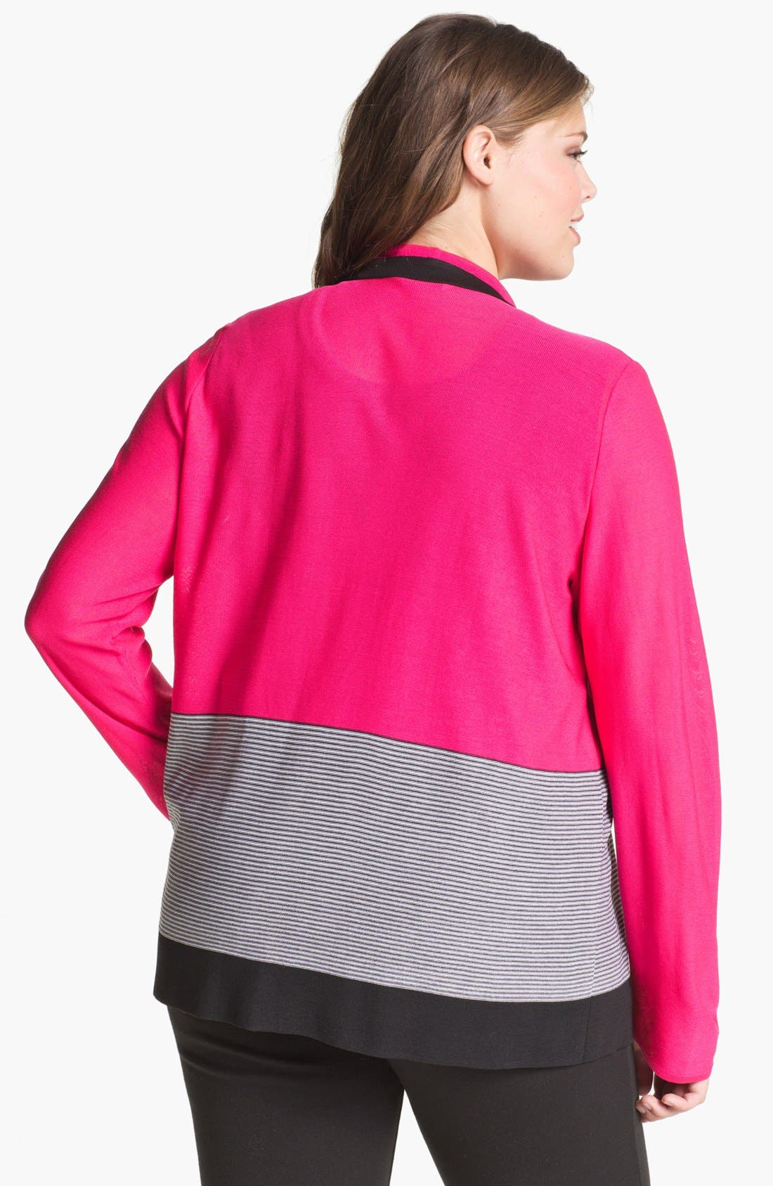 Alternate Image 2  - Exclusively Misook 'Jenny' Drape Front Cardigan (Plus Size)