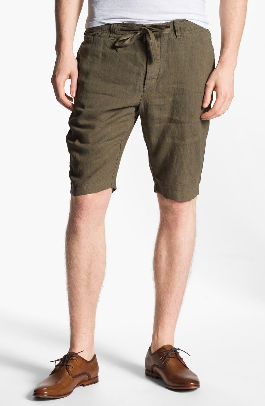 Alternate Image 1 Selected - Vince Flat Front Linen Shorts