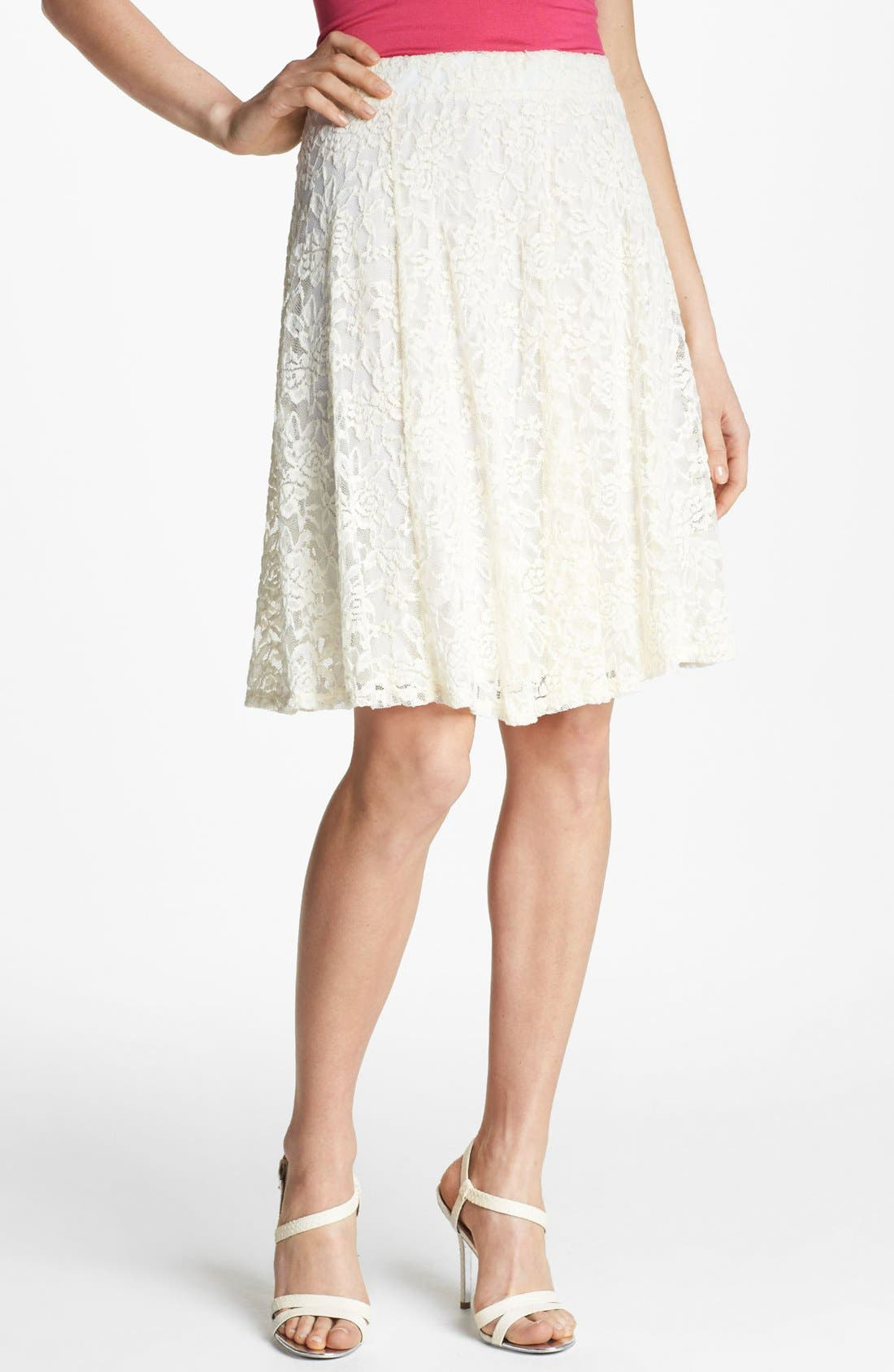 Alternate Image 1 Selected - Bobeau High Waist Lace Skirt