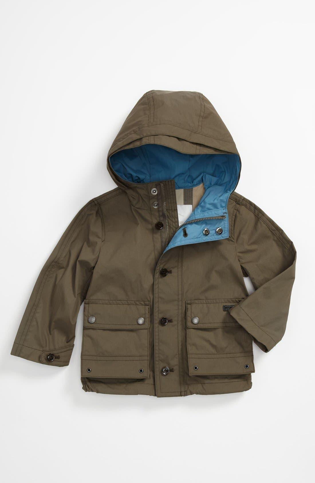 Main Image - Burberry Hooded Windbreaker Jacket (Baby)